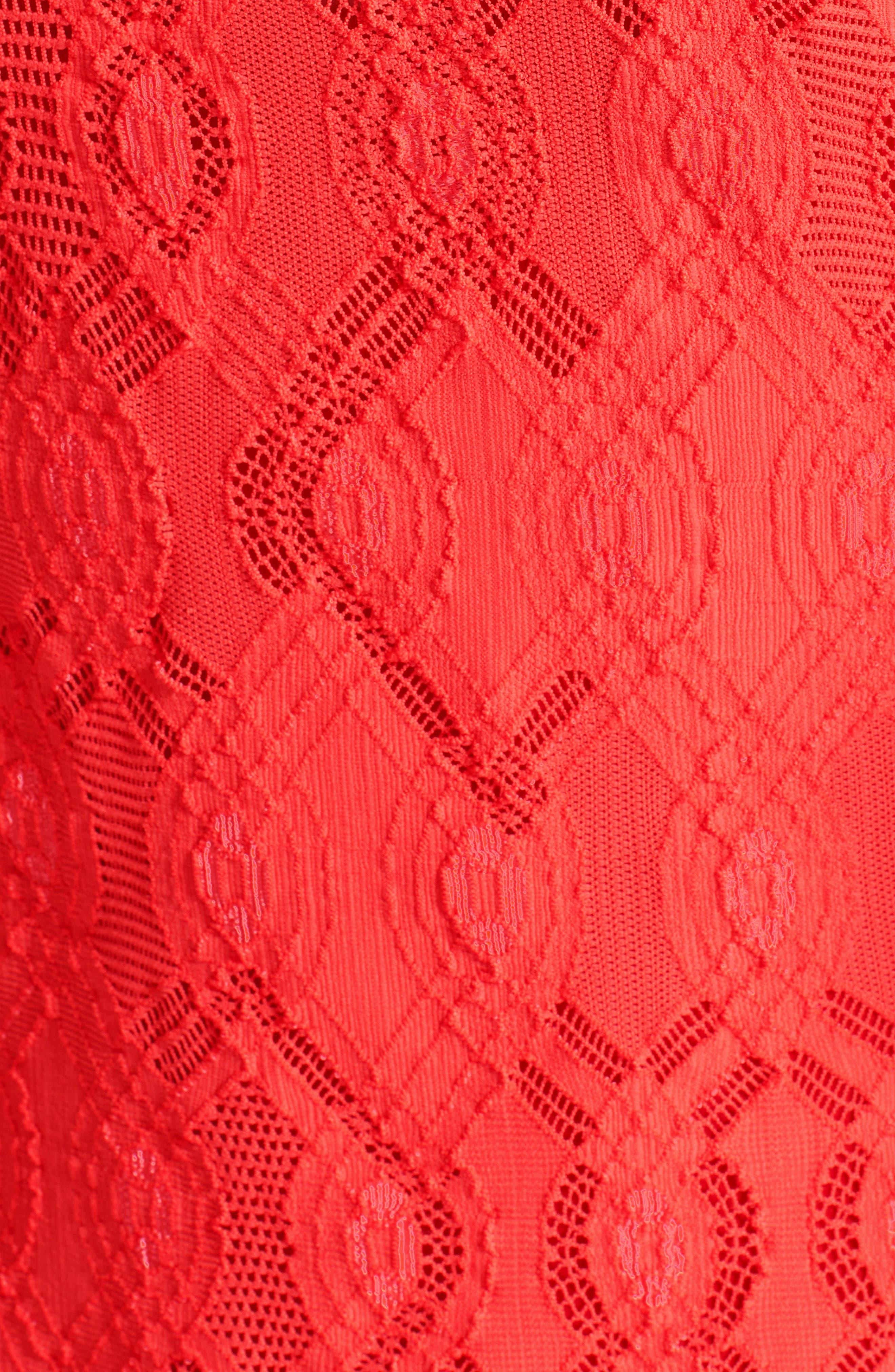 Long Sleeve Geo Lace Sheath Dress,                             Alternate thumbnail 3, color,                             600