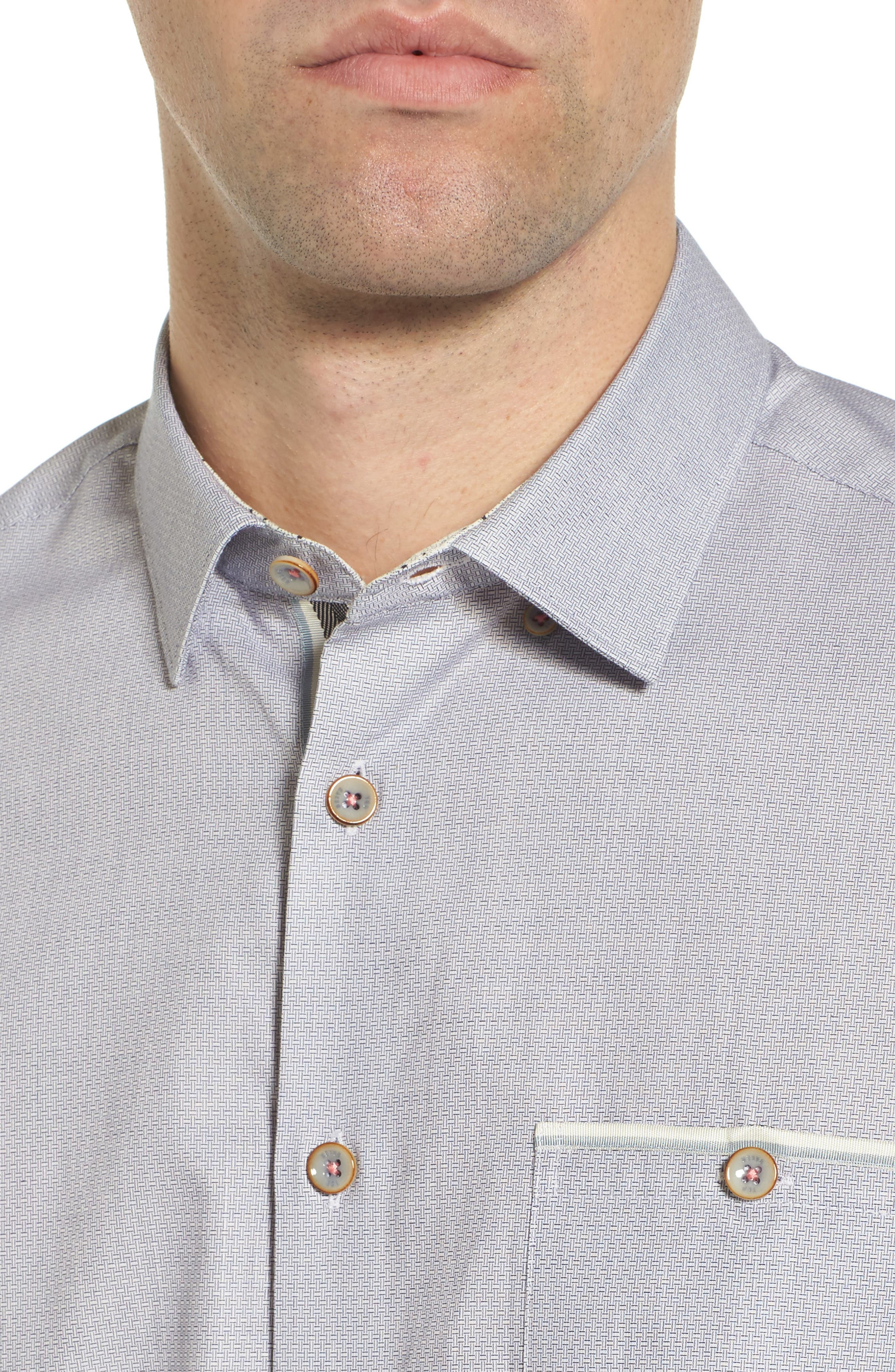 Wonky Trim Fit Oxford Sport Shirt,                             Alternate thumbnail 4, color,                             100