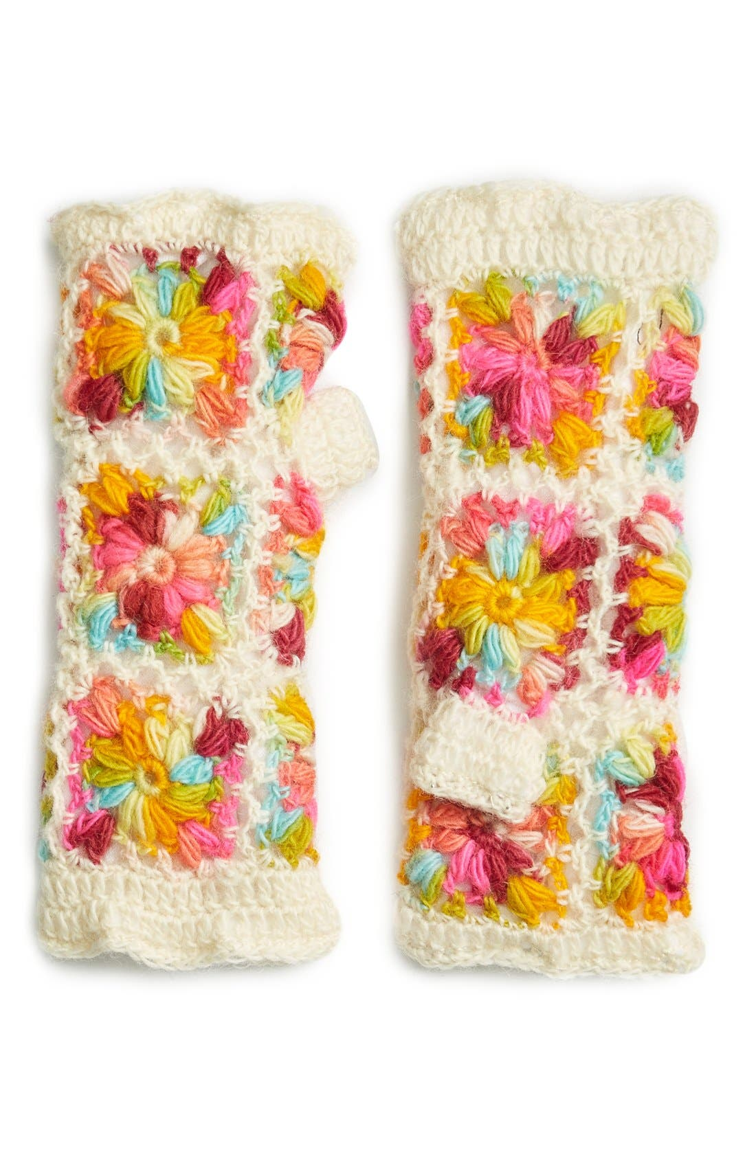 Flower Crochet Hand Warmers,                             Main thumbnail 7, color,