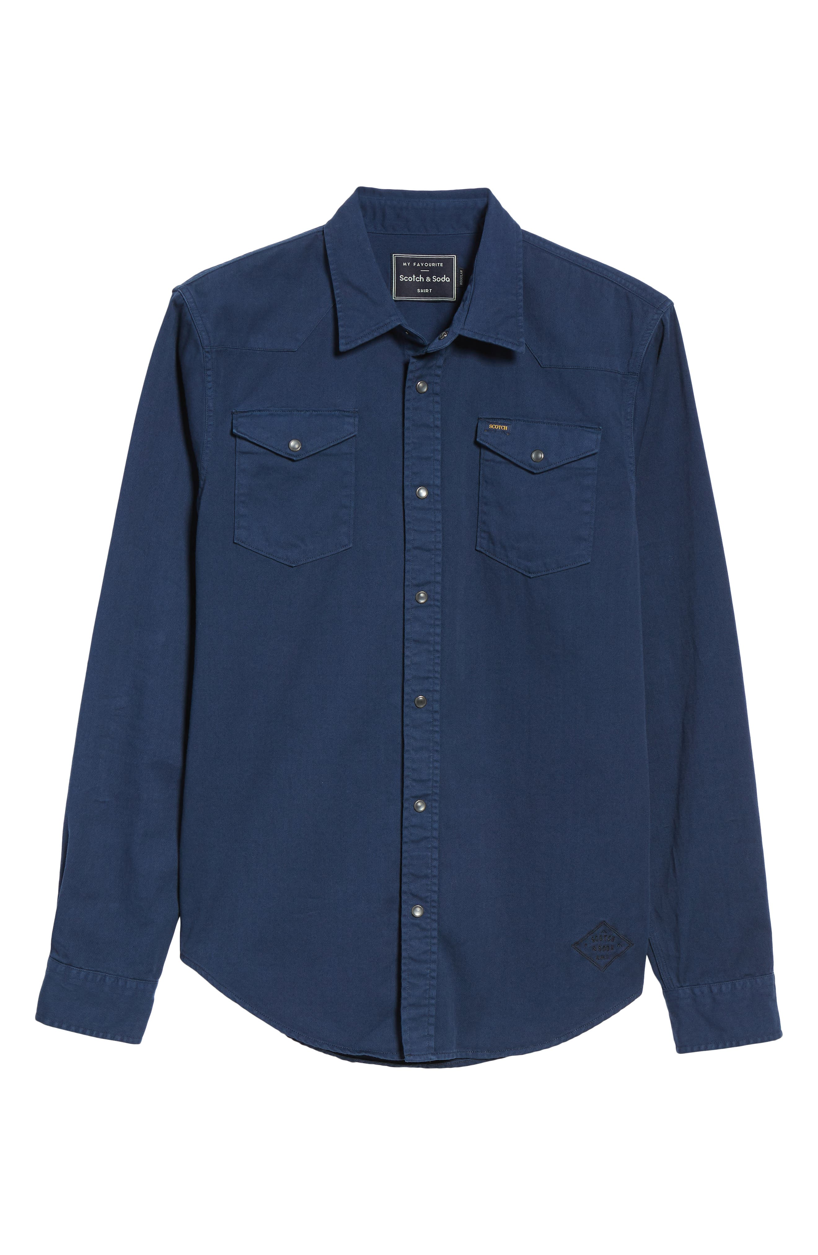 Regular Fit Garment Dyed Shirt,                             Alternate thumbnail 5, color,                             DENIM BLUE
