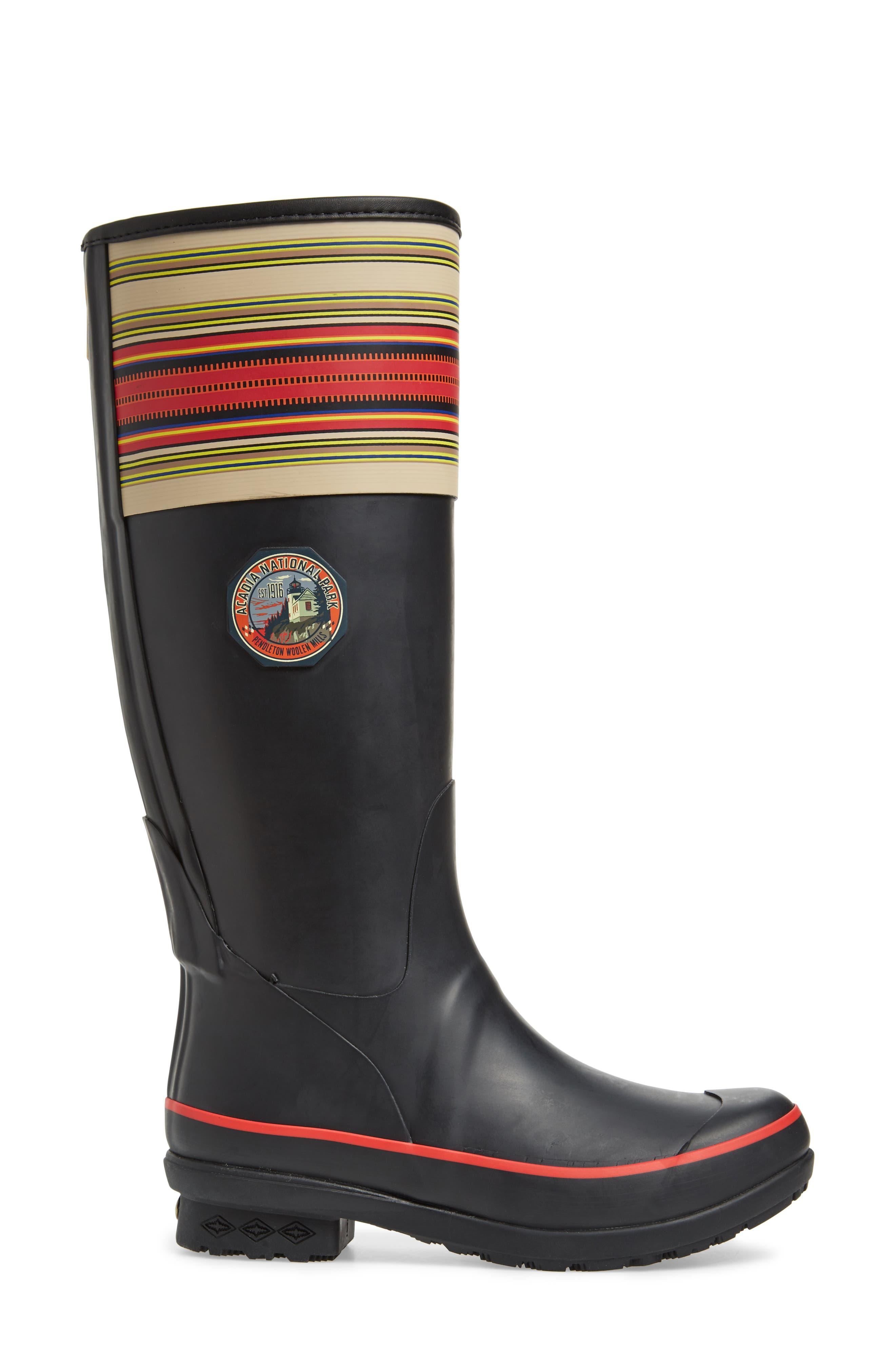 Pendleton Acadia National Park Tall Rain Boot,                             Alternate thumbnail 3, color,                             BLACK
