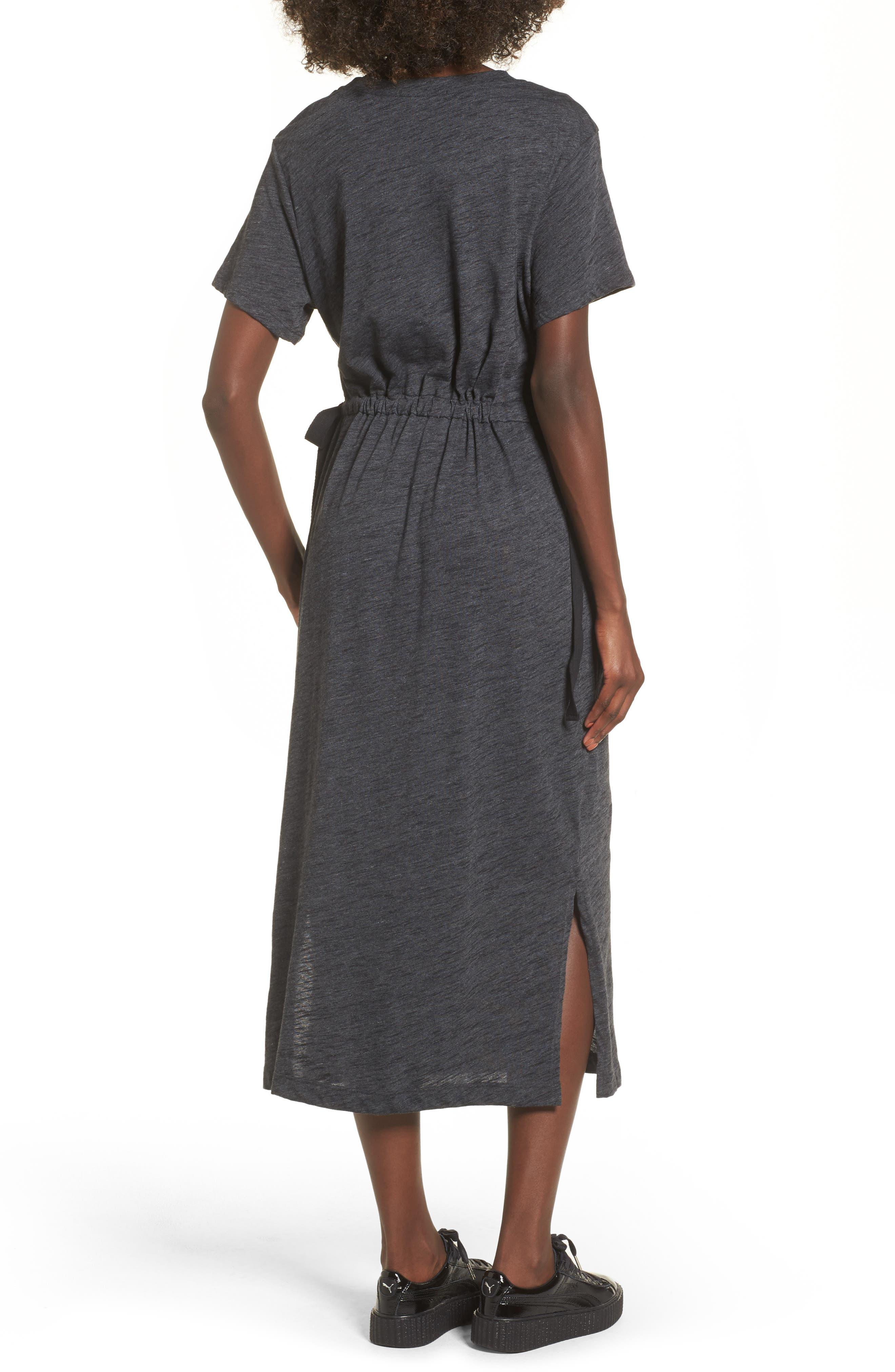 Side Tie Midi T-Shirt Dress,                             Alternate thumbnail 2, color,                             020