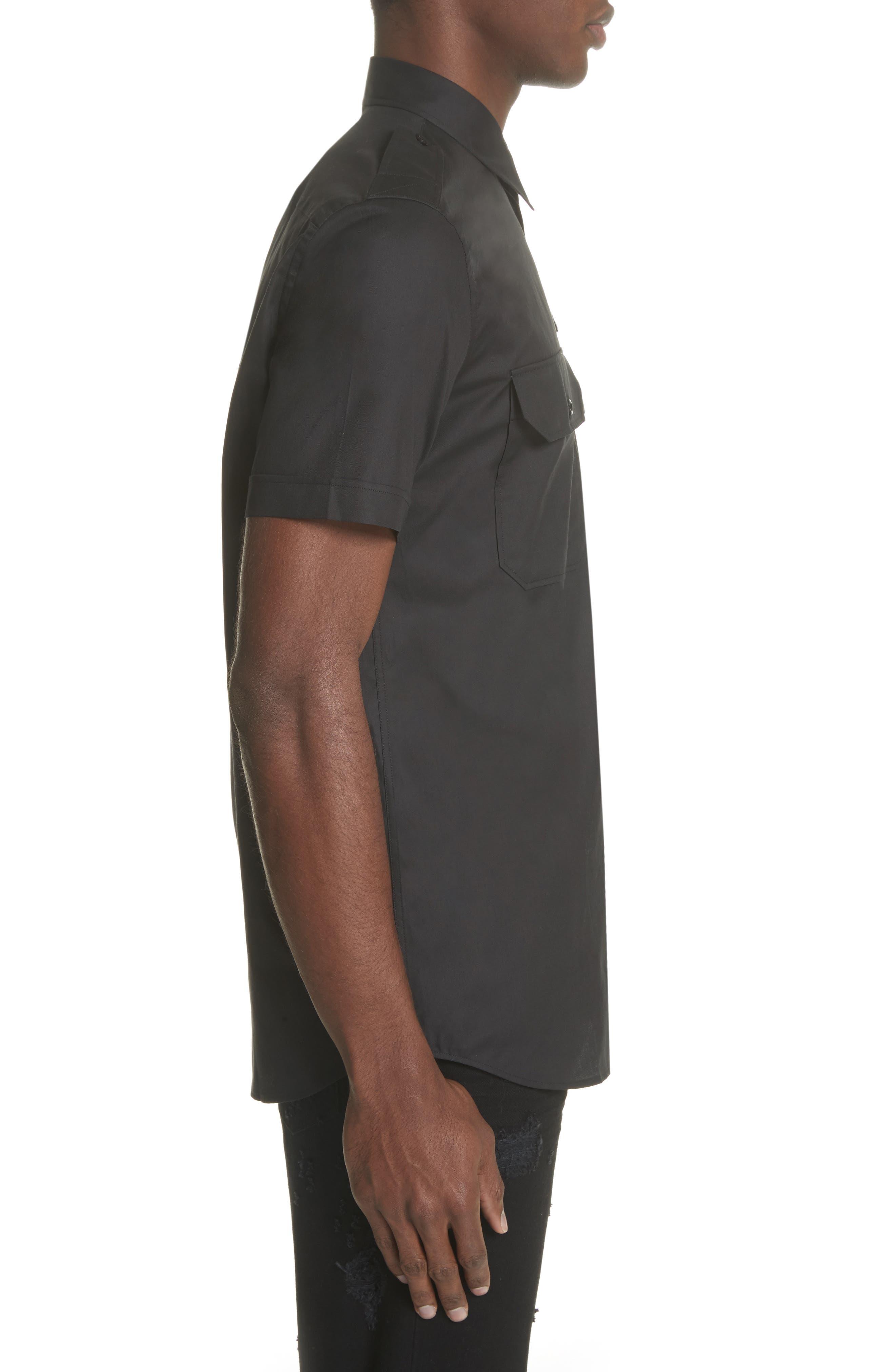 Short Sleeve Woven Shirt,                             Alternate thumbnail 3, color,                             001