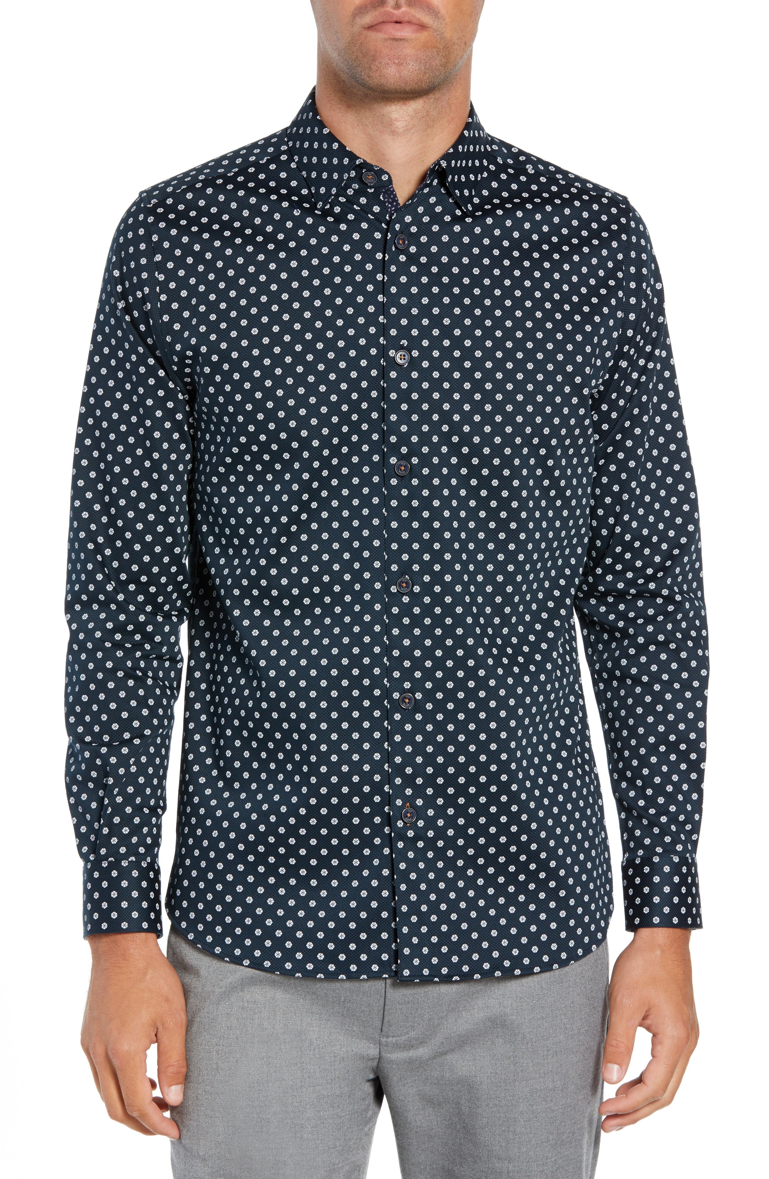 Geo Flower Sport Shirt,                         Main,                         color, NAVY