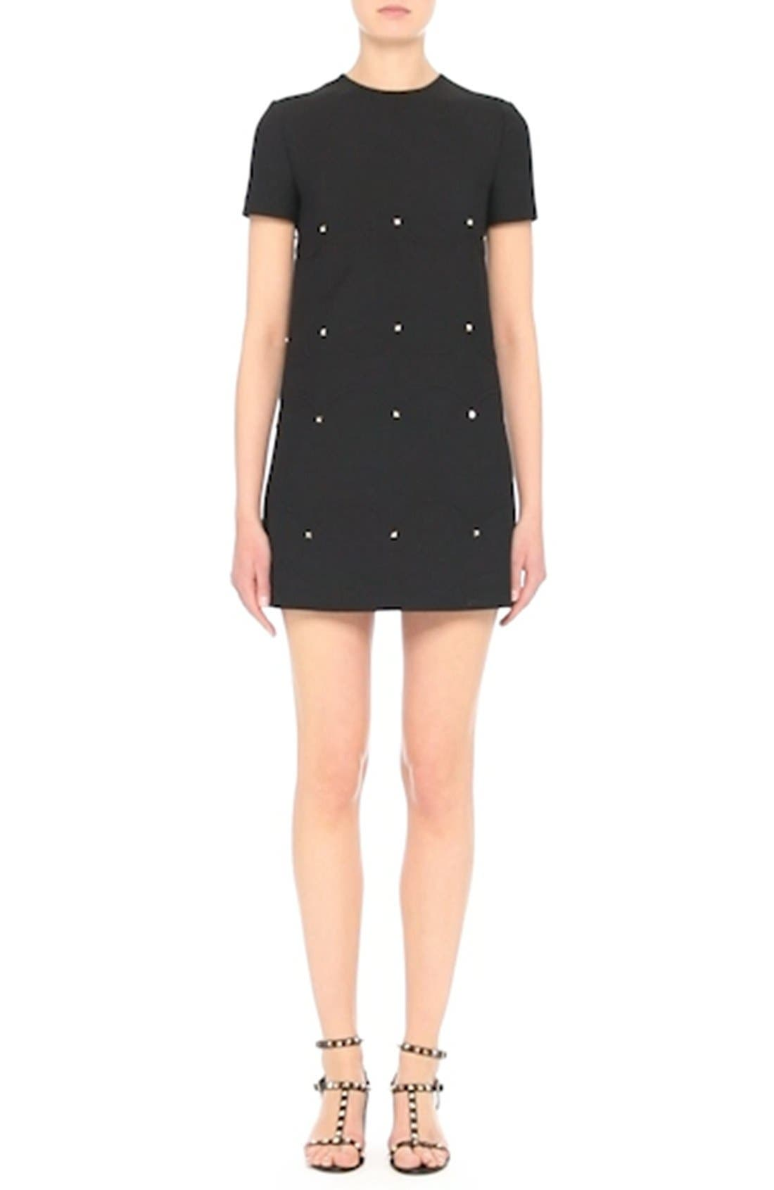 Studded Scallop Dress,                             Alternate thumbnail 7, color,                             BLACK