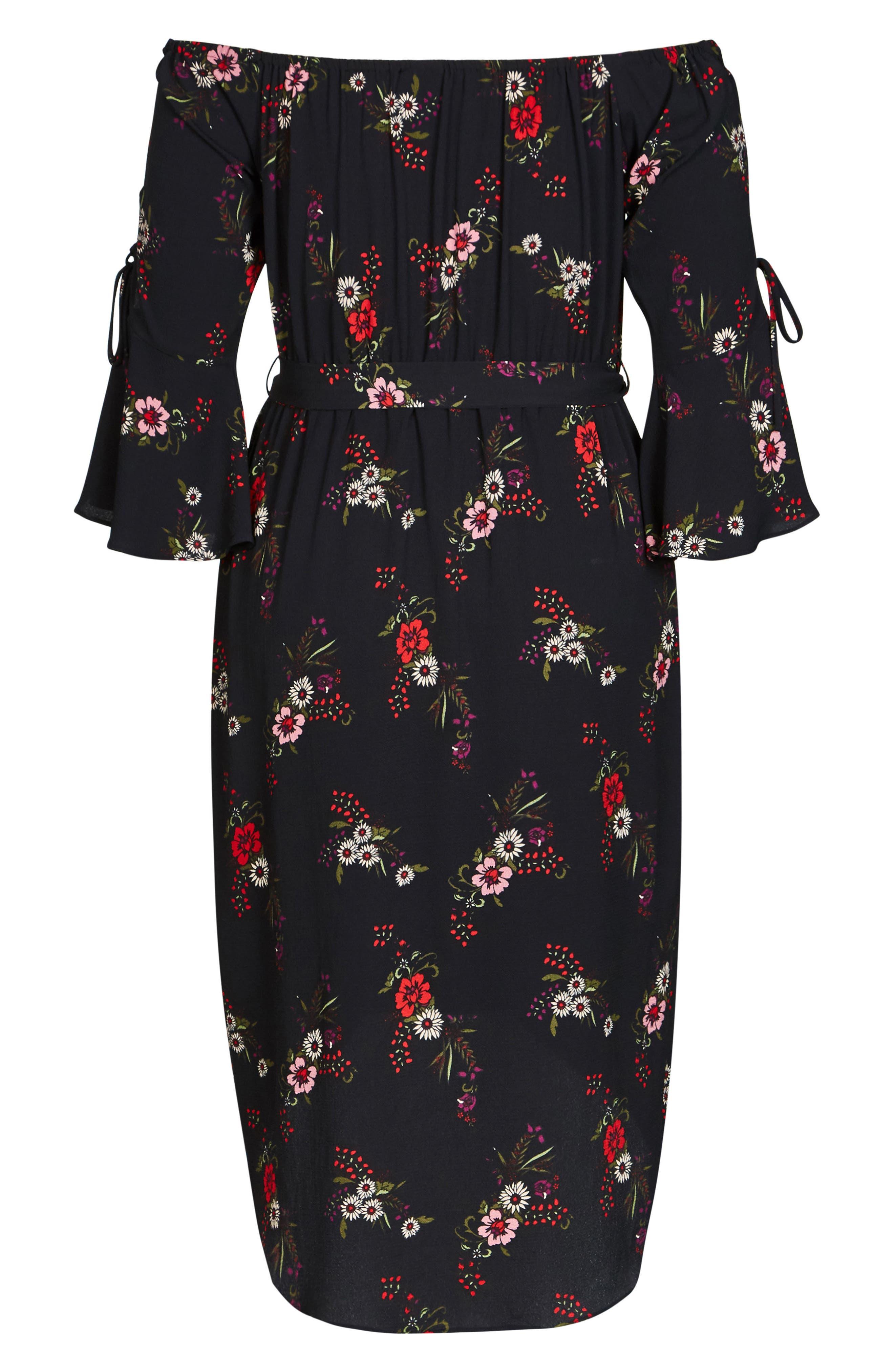 Off the Shoulder Midi Dress,                             Alternate thumbnail 4, color,                             014