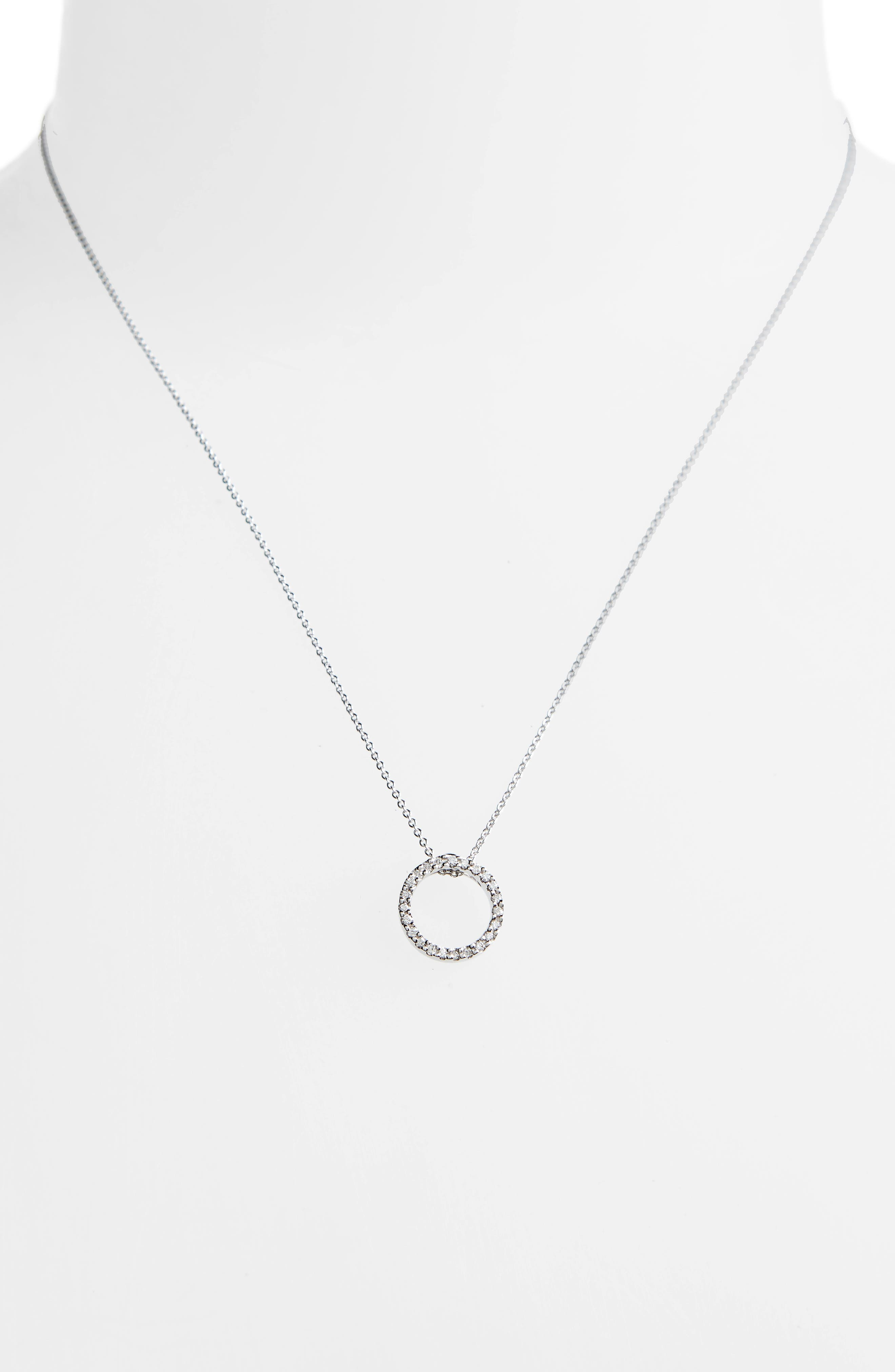 ROBERTO COIN,                             'Tiny Treasures' Small Diamond Circle Pendant Necklace,                             Alternate thumbnail 3, color,                             WHITE GOLD