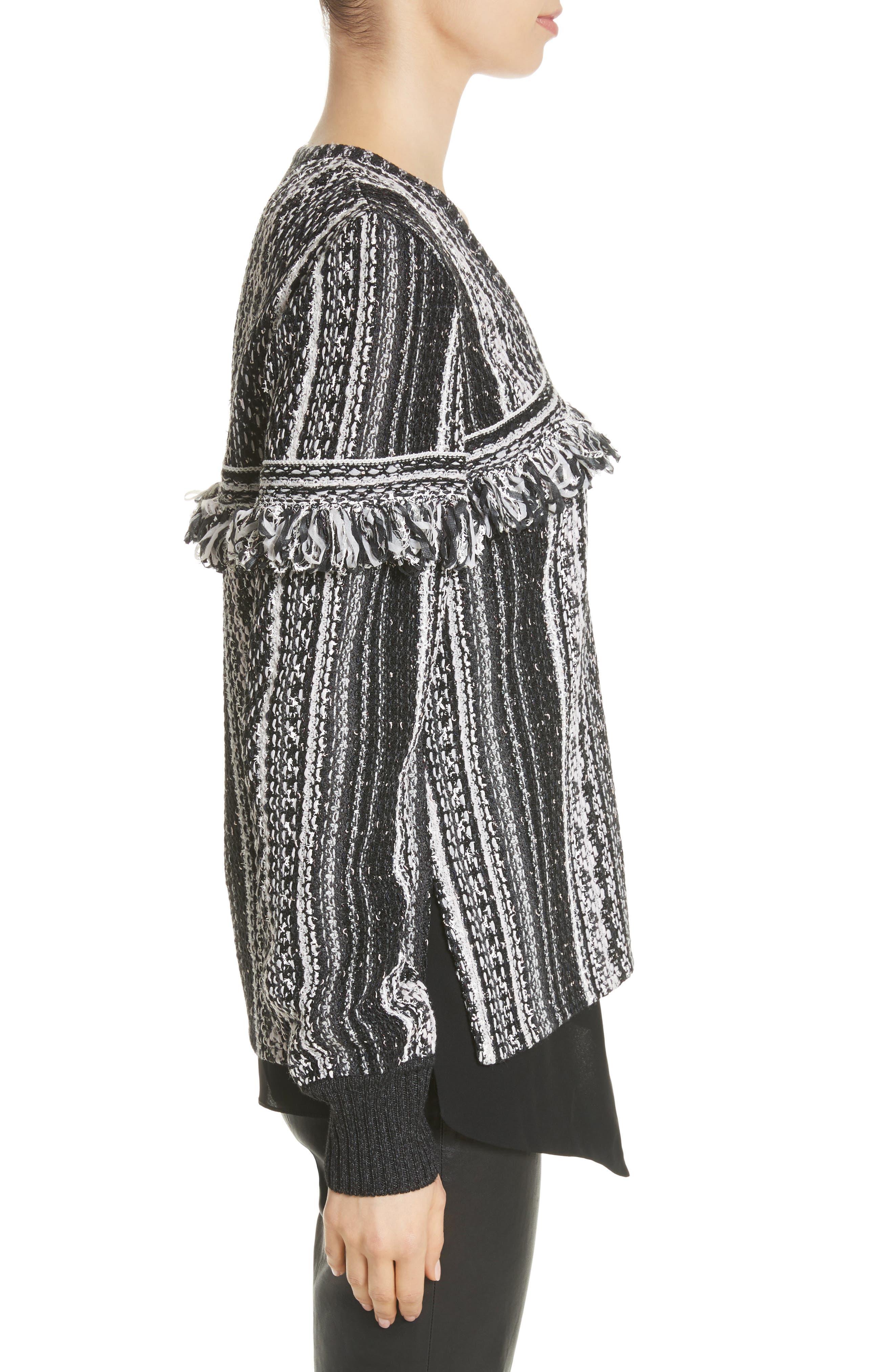 Fringe Vertical Ombré Stripe Tweed Knit Jacket,                             Alternate thumbnail 3, color,                             001
