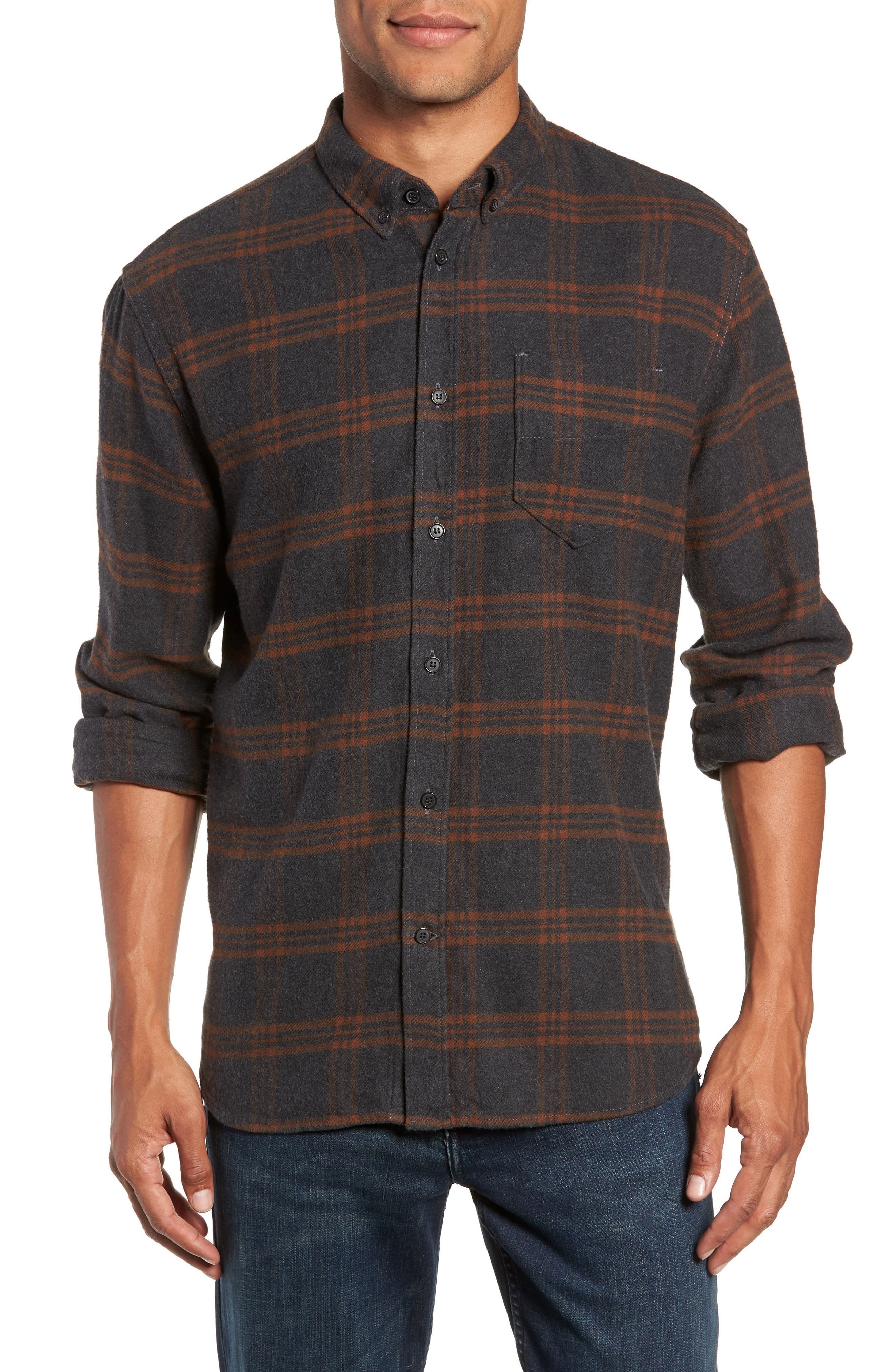BILLY REID,                             Plaid Cotton Flannel Shirt,                             Main thumbnail 1, color,                             020