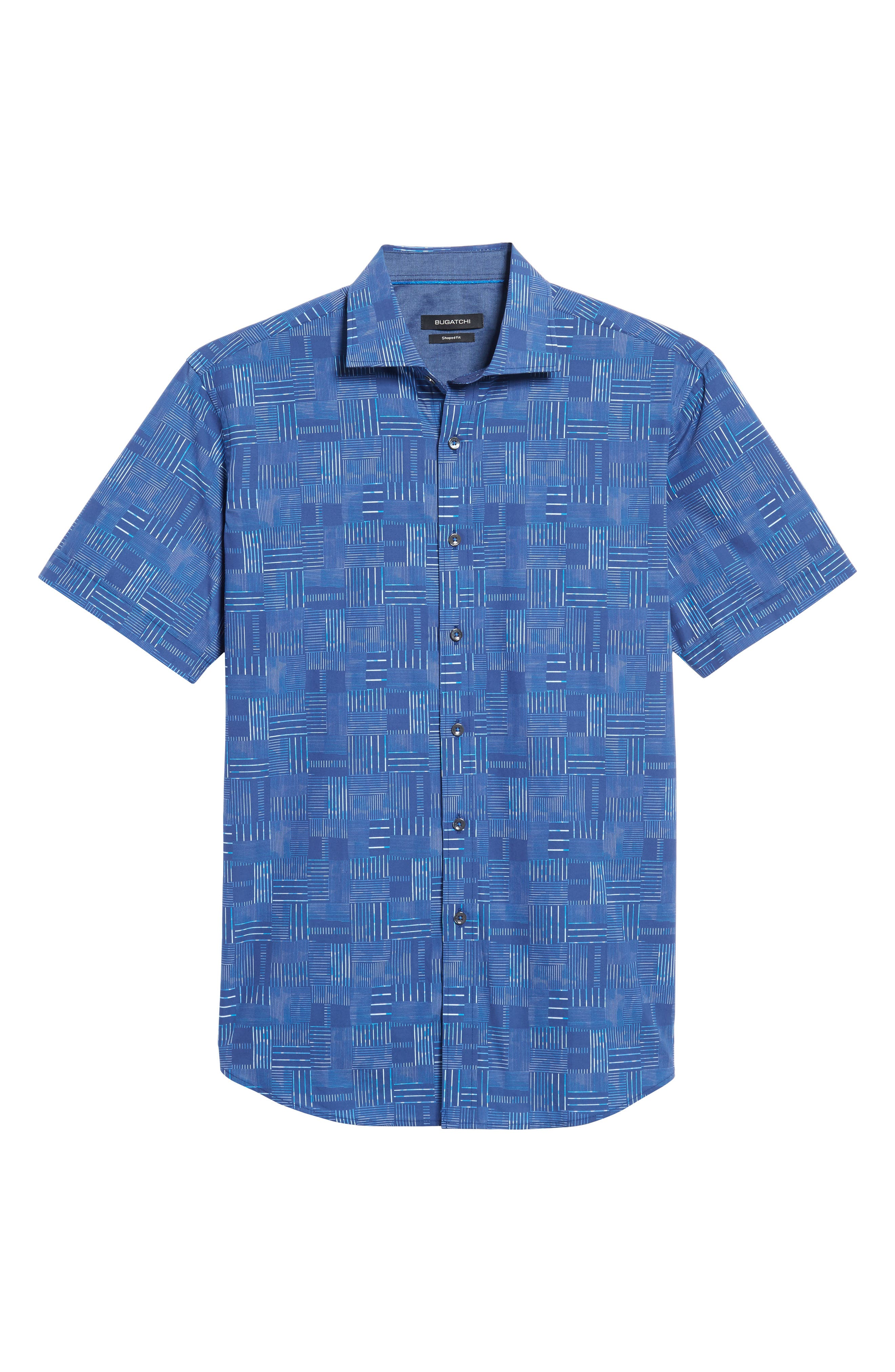 Shaped Fit Print Sport Shirt,                             Alternate thumbnail 6, color,                             422
