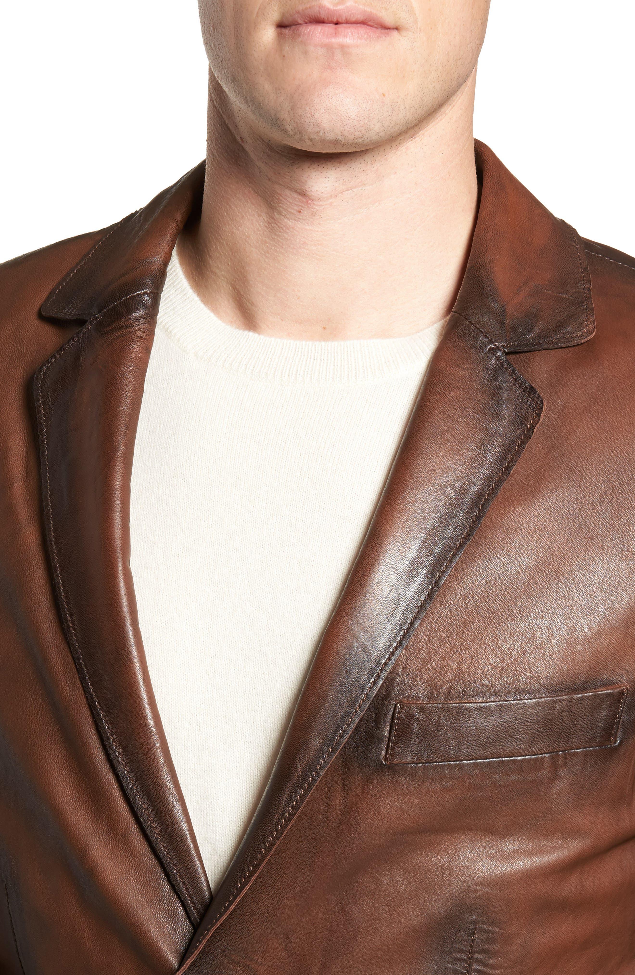 Vintage Leather Blazer,                             Alternate thumbnail 4, color,