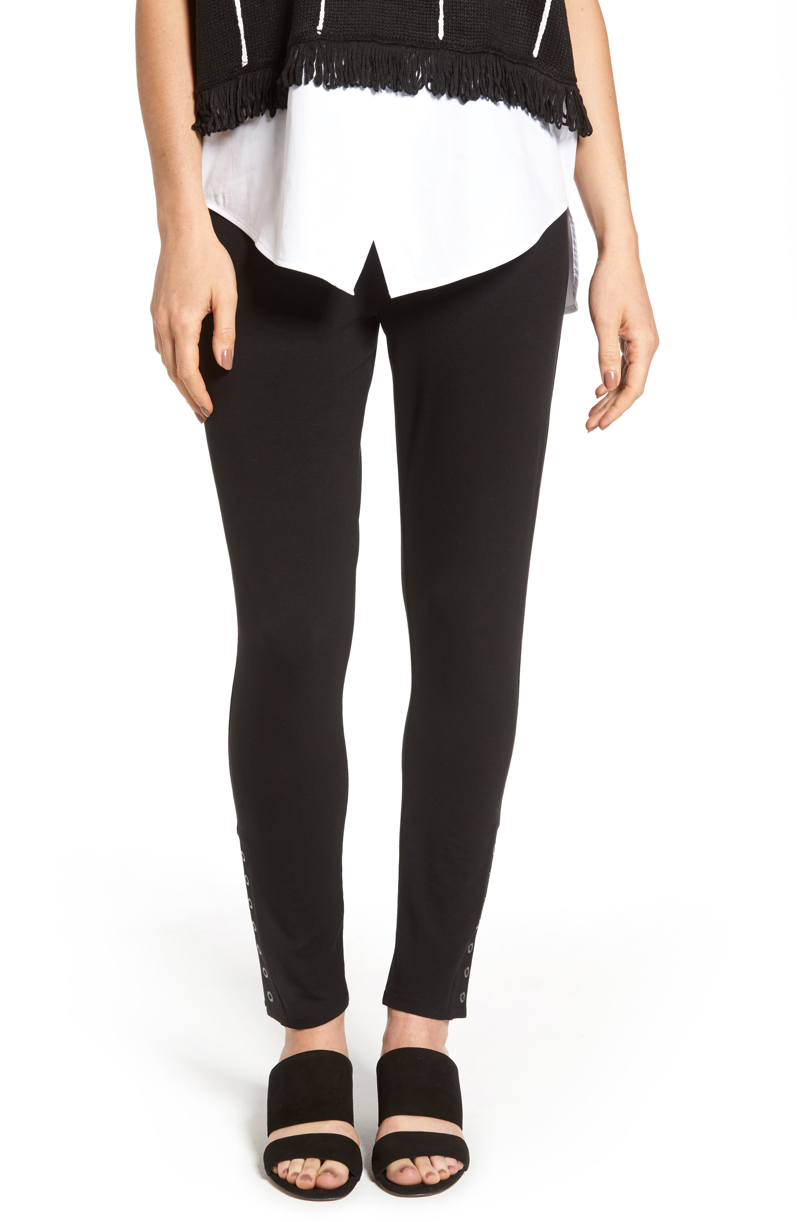 Grommet Detail Skinny Knit Pants,                         Main,                         color, 001