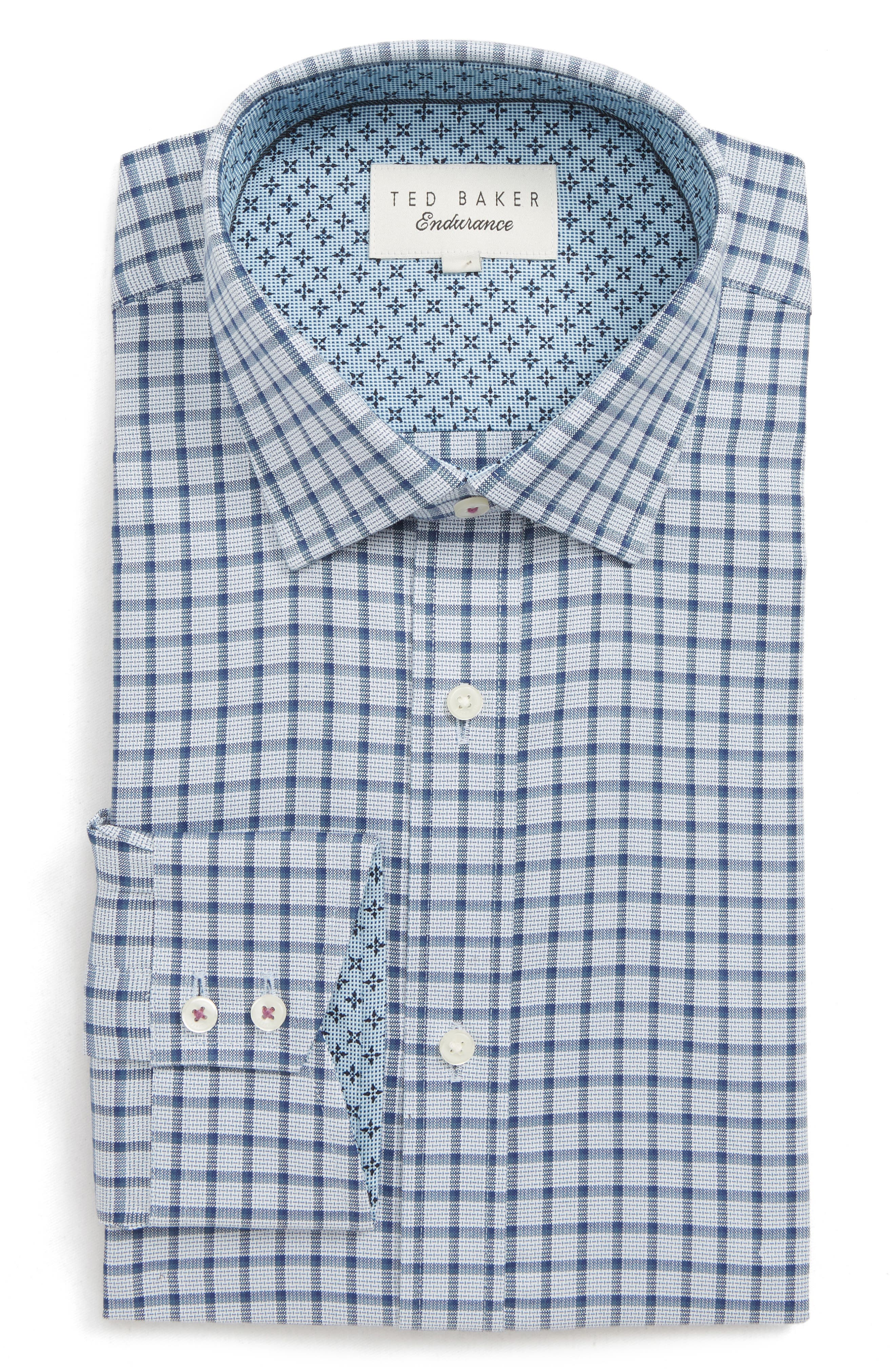 Ambrer Trim Fit Check Dress Shirt,                             Main thumbnail 1, color,                             GREY
