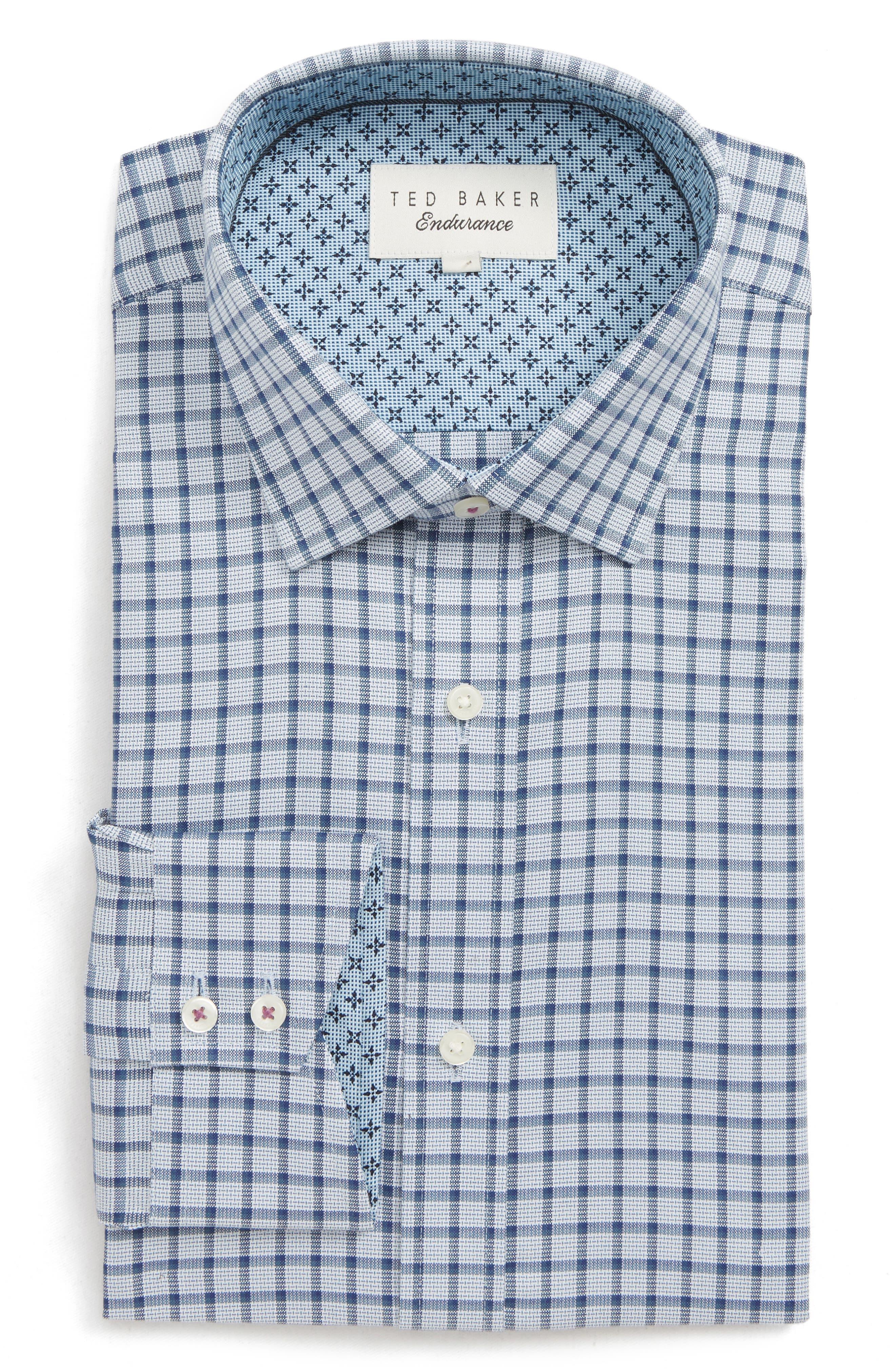Ambrer Trim Fit Check Dress Shirt,                         Main,                         color, GREY