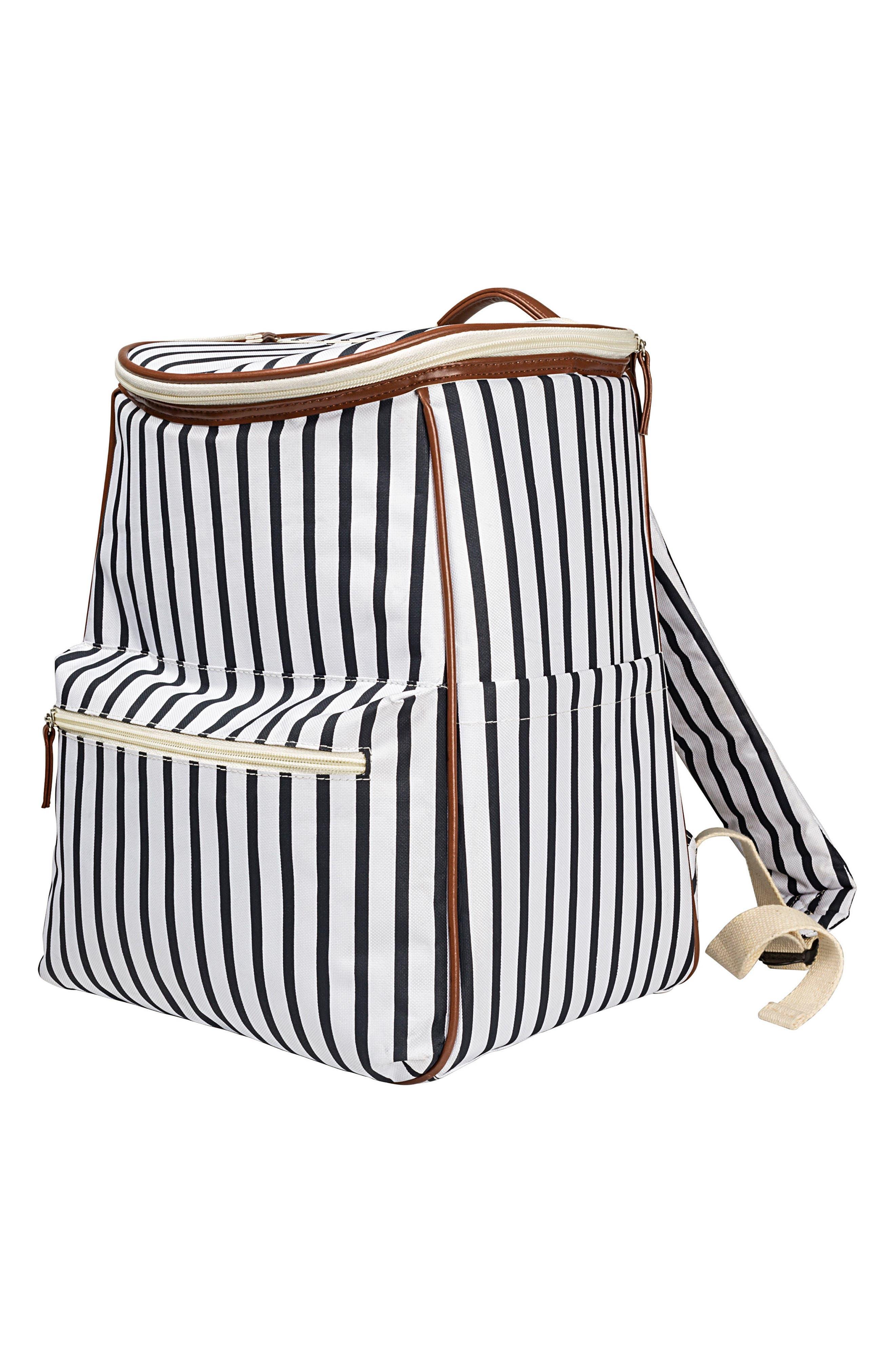Monogram Stripe Backpack Cooler,                             Main thumbnail 1, color,                             BLUE