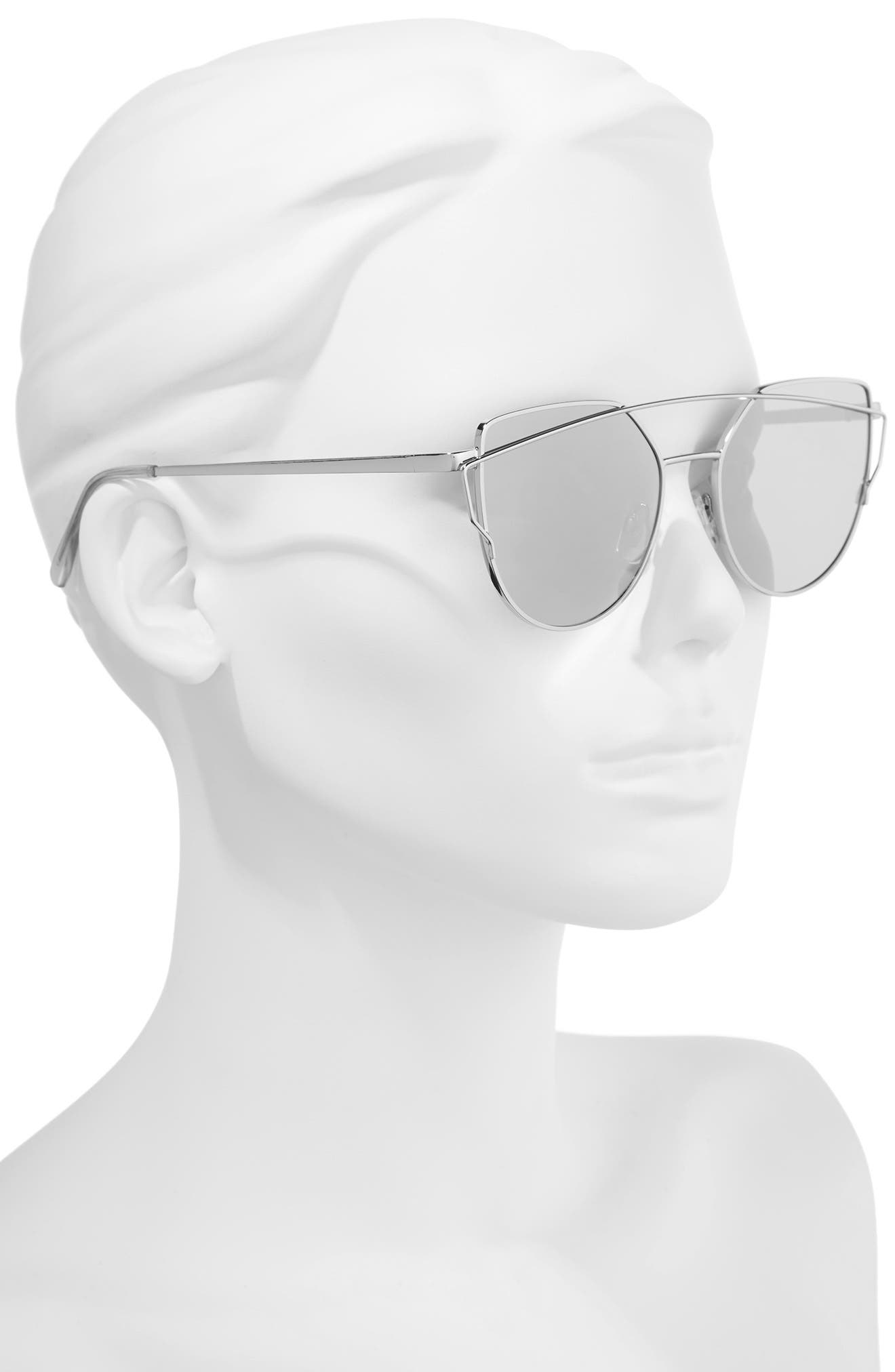 51mm Thin Brow Angular Aviator Sunglasses,                             Alternate thumbnail 9, color,