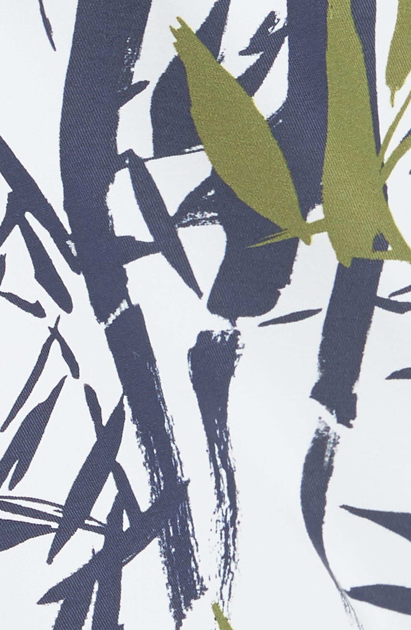 Bamboo Song Print Swim Trunks,                             Alternate thumbnail 5, color,                             WHITE