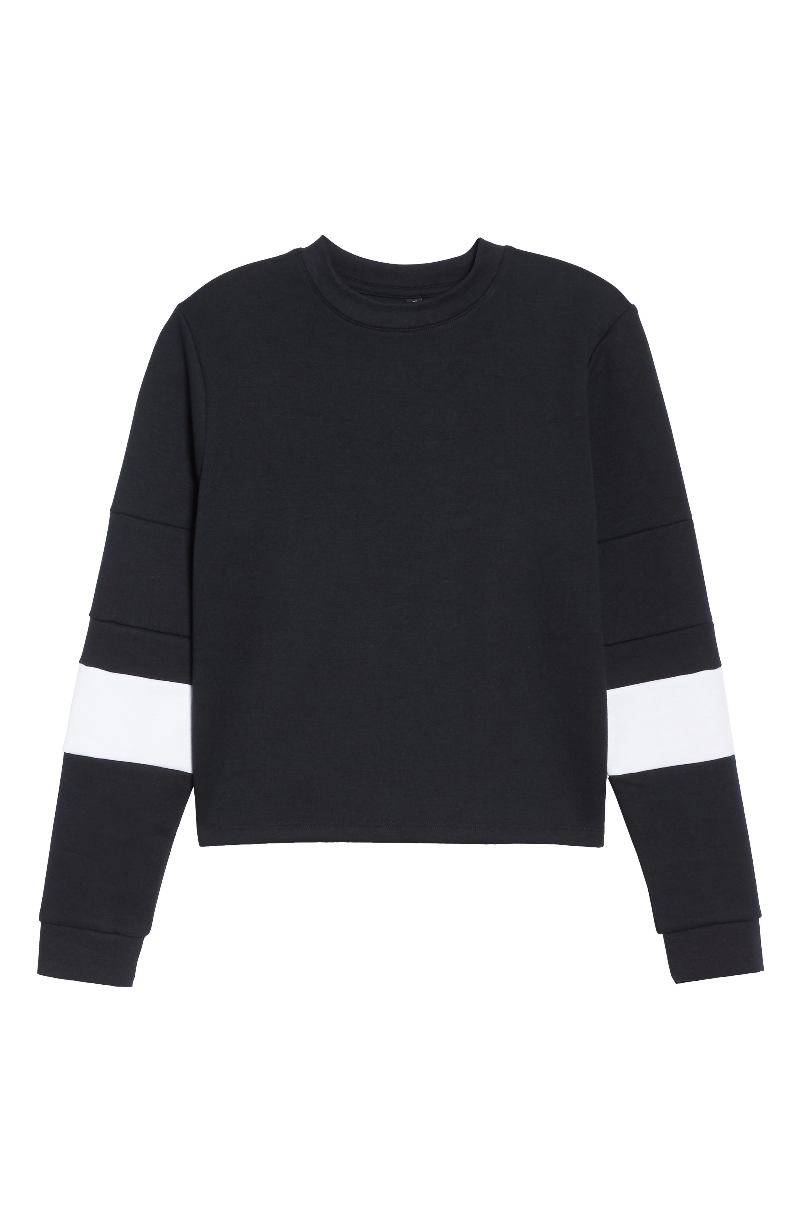 Colorblock Crewneck Top,                             Alternate thumbnail 7, color,                             BLACK