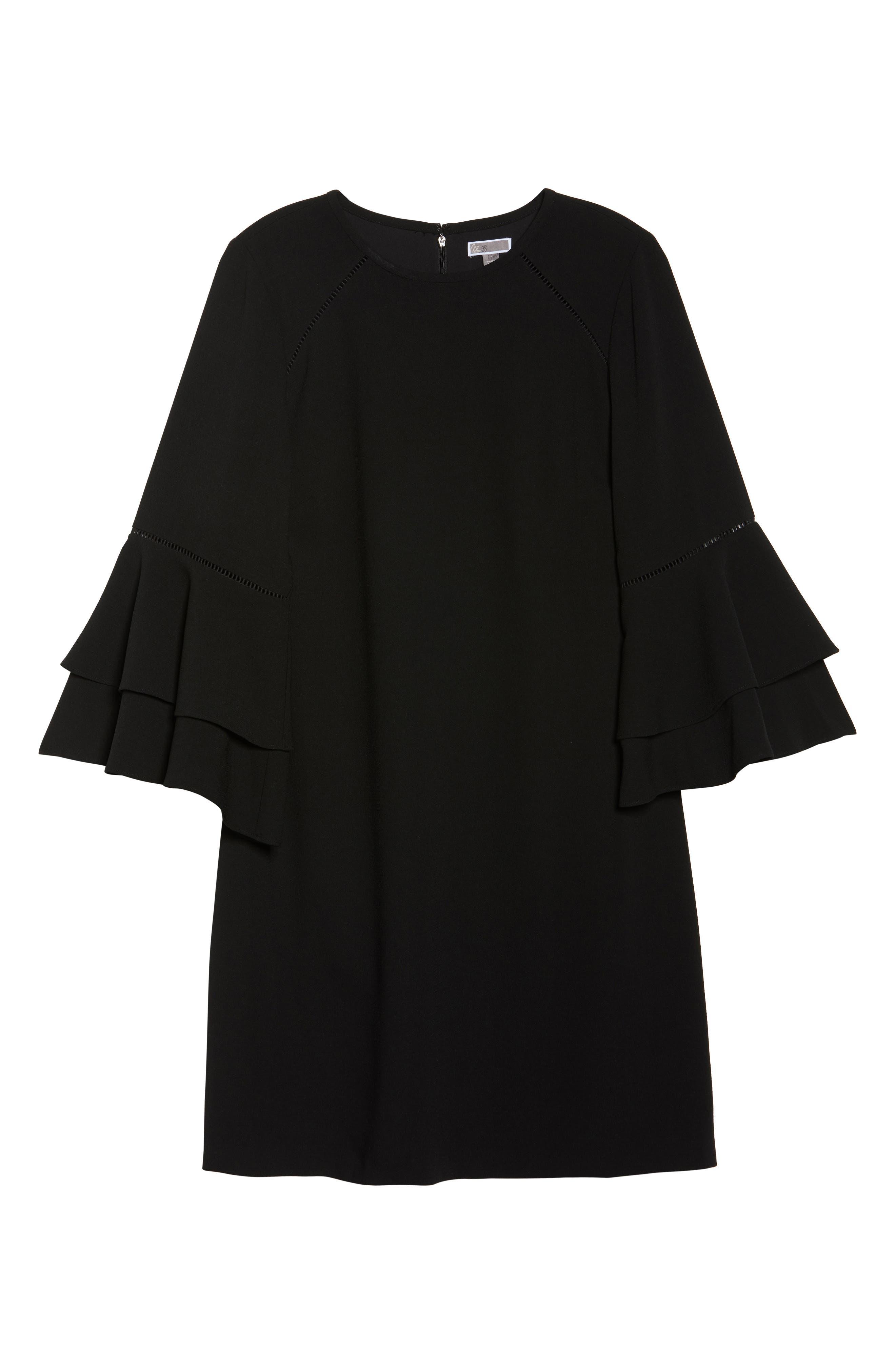 Ruffle Bell Sleeve Shift Dress,                             Alternate thumbnail 6, color,                             001