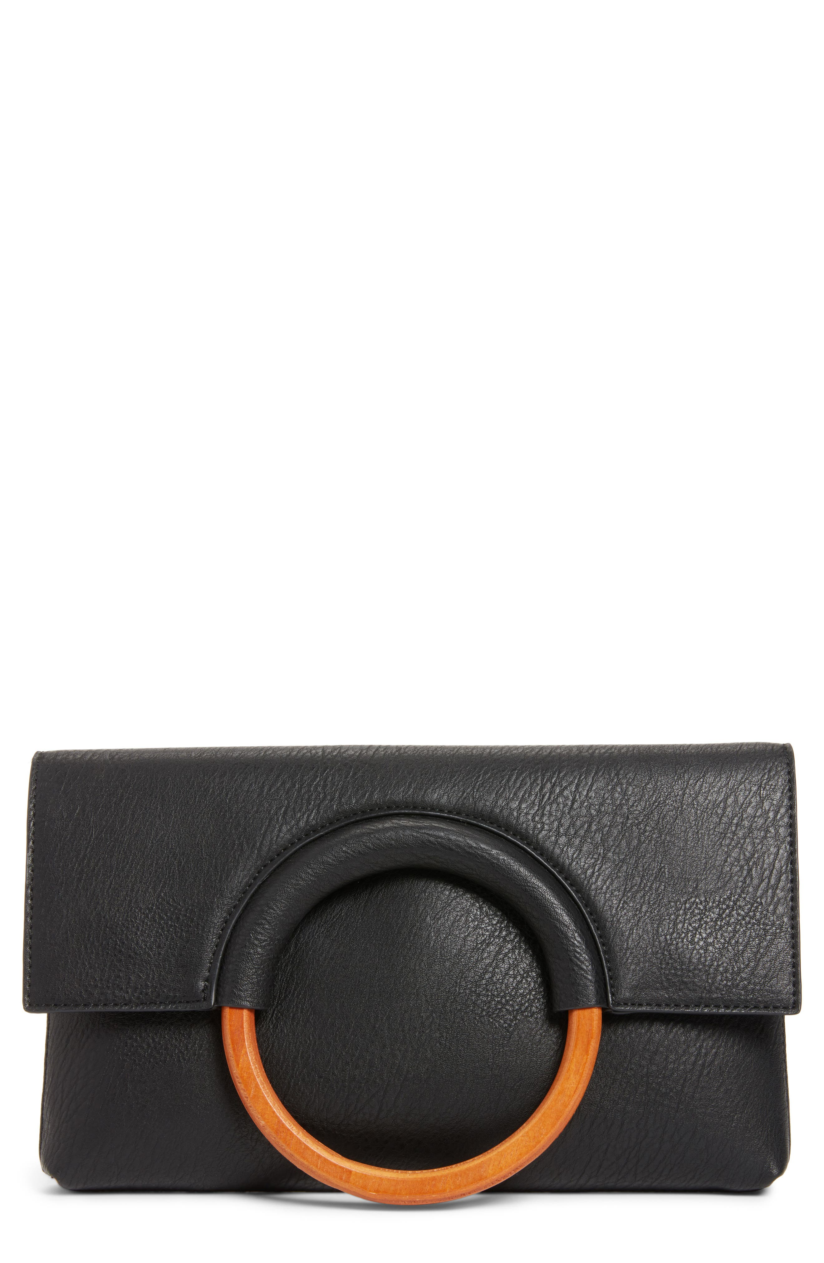 Faux Leather Circle Clutch,                         Main,                         color, BLACK