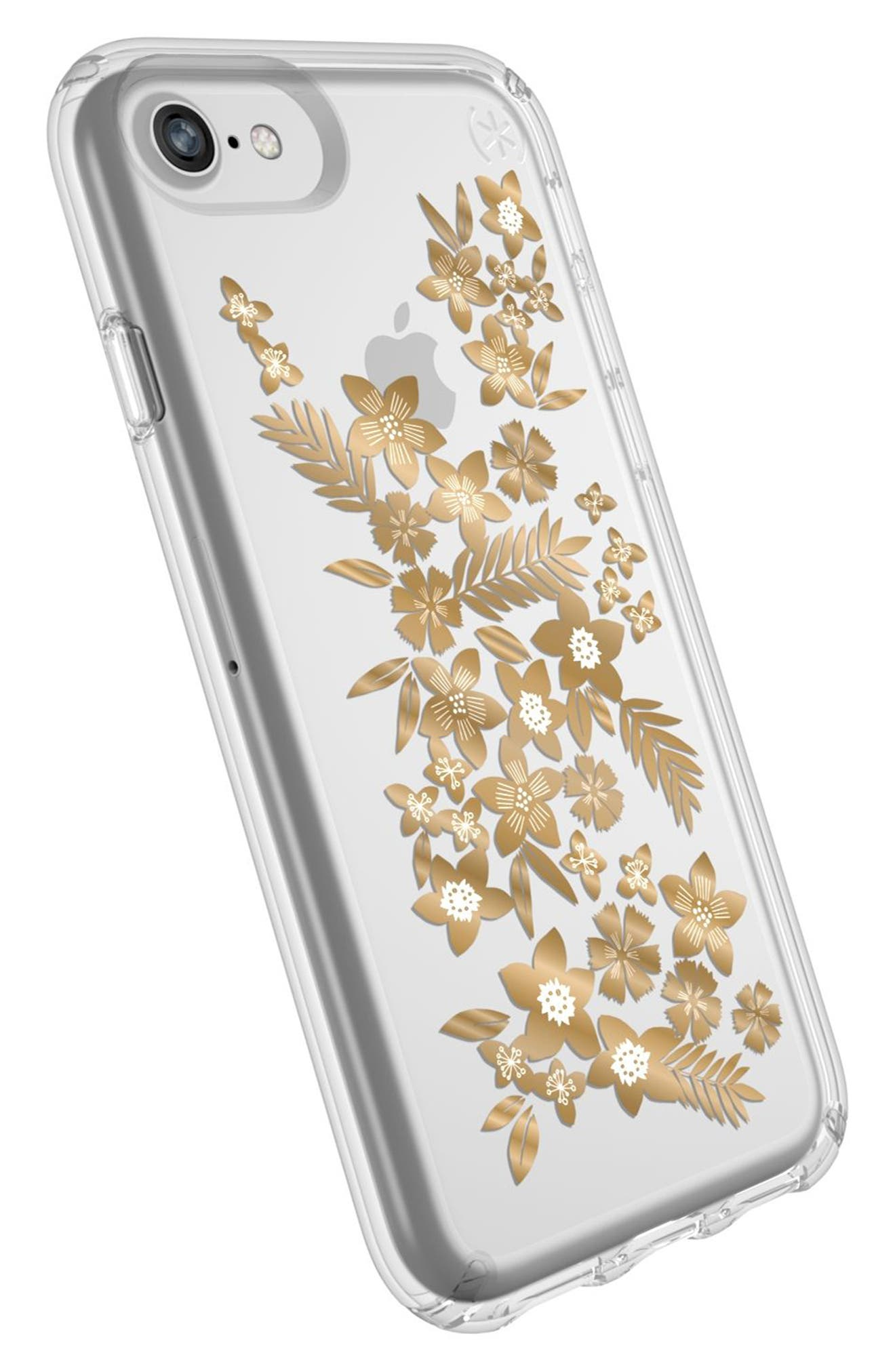 Transparent Shimmer Floral Metallic iPhone 6/6s/7/8 Case,                             Alternate thumbnail 4, color,                             040
