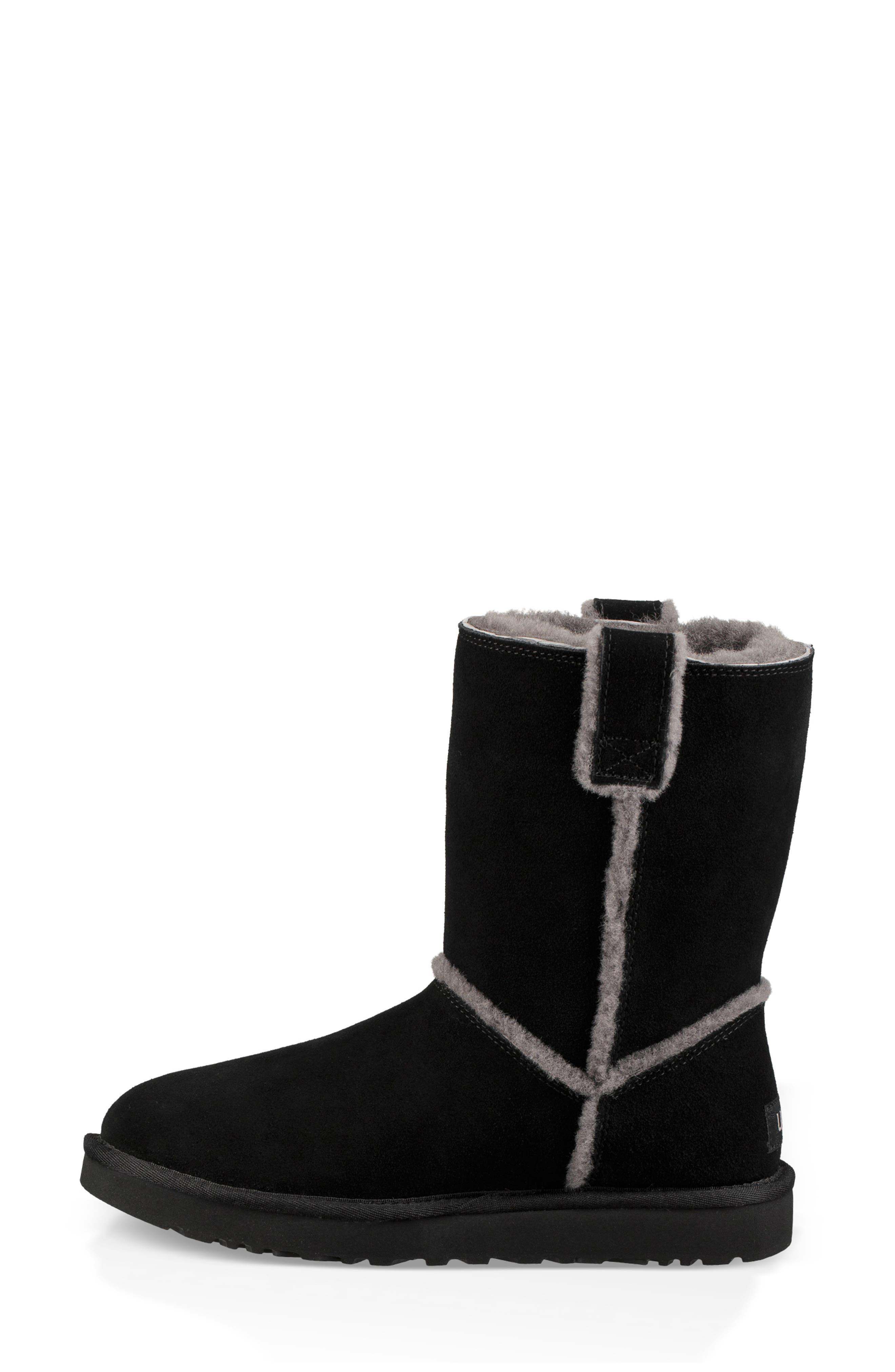 Classic Short Spill Seam Genuine Shearling Boot,                             Alternate thumbnail 6, color,                             BLACK