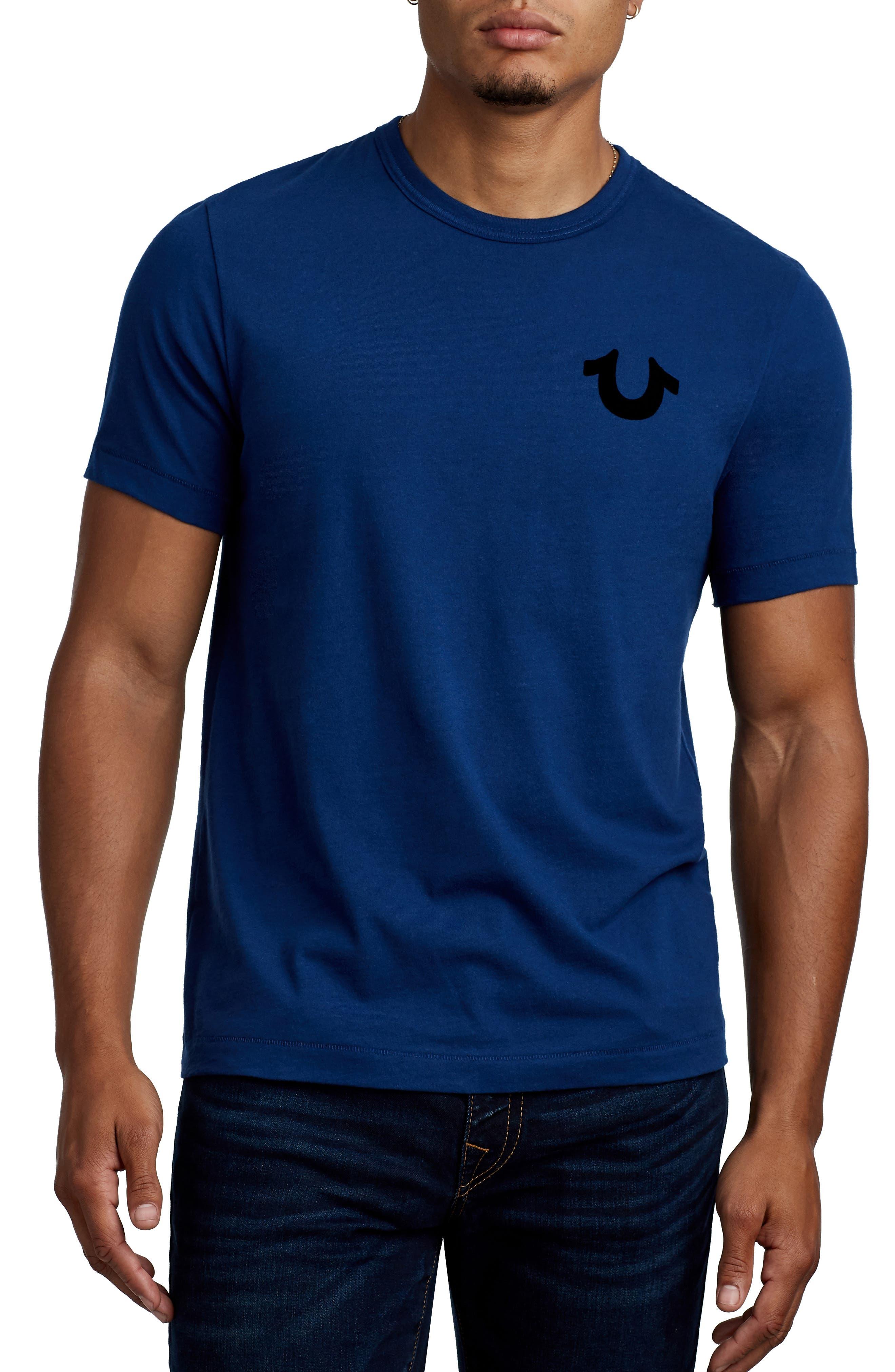 True Religion Staple Stitch Buddha T-Shirt,                         Main,                         color, COBALT BLUE