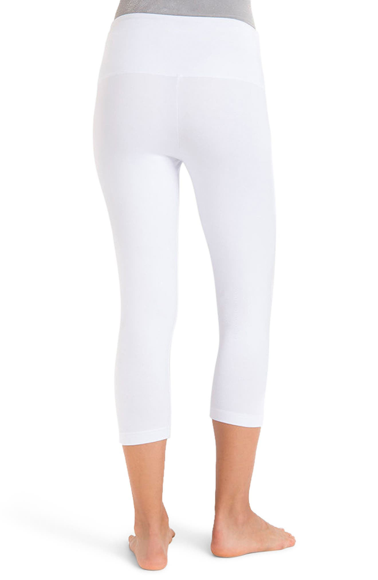 Control Top High Waist Capris,                             Alternate thumbnail 3, color,                             WHITE