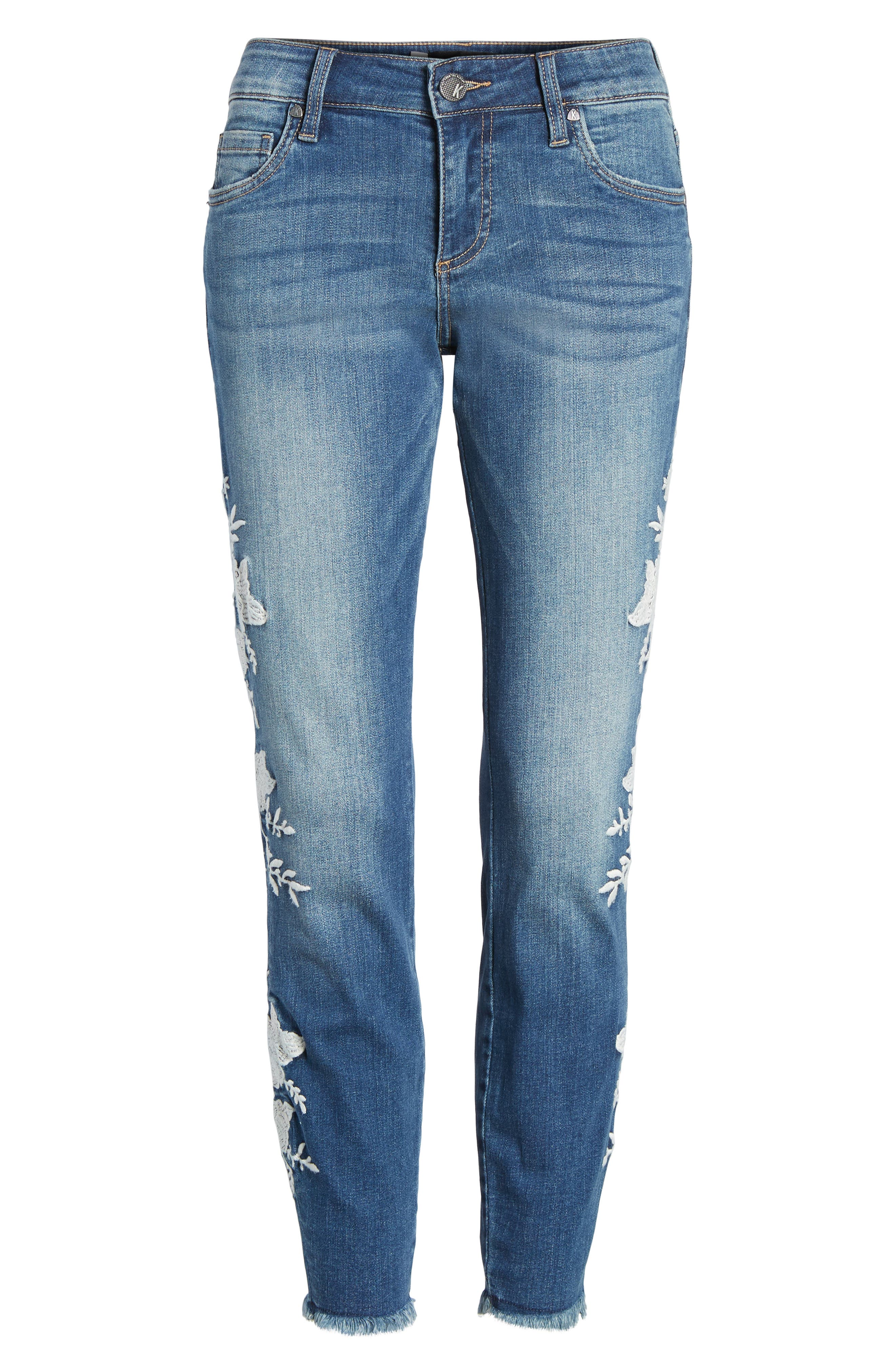 KUT from the Kloth Connie Embroidered Skinny Jeans,                             Alternate thumbnail 7, color,                             400