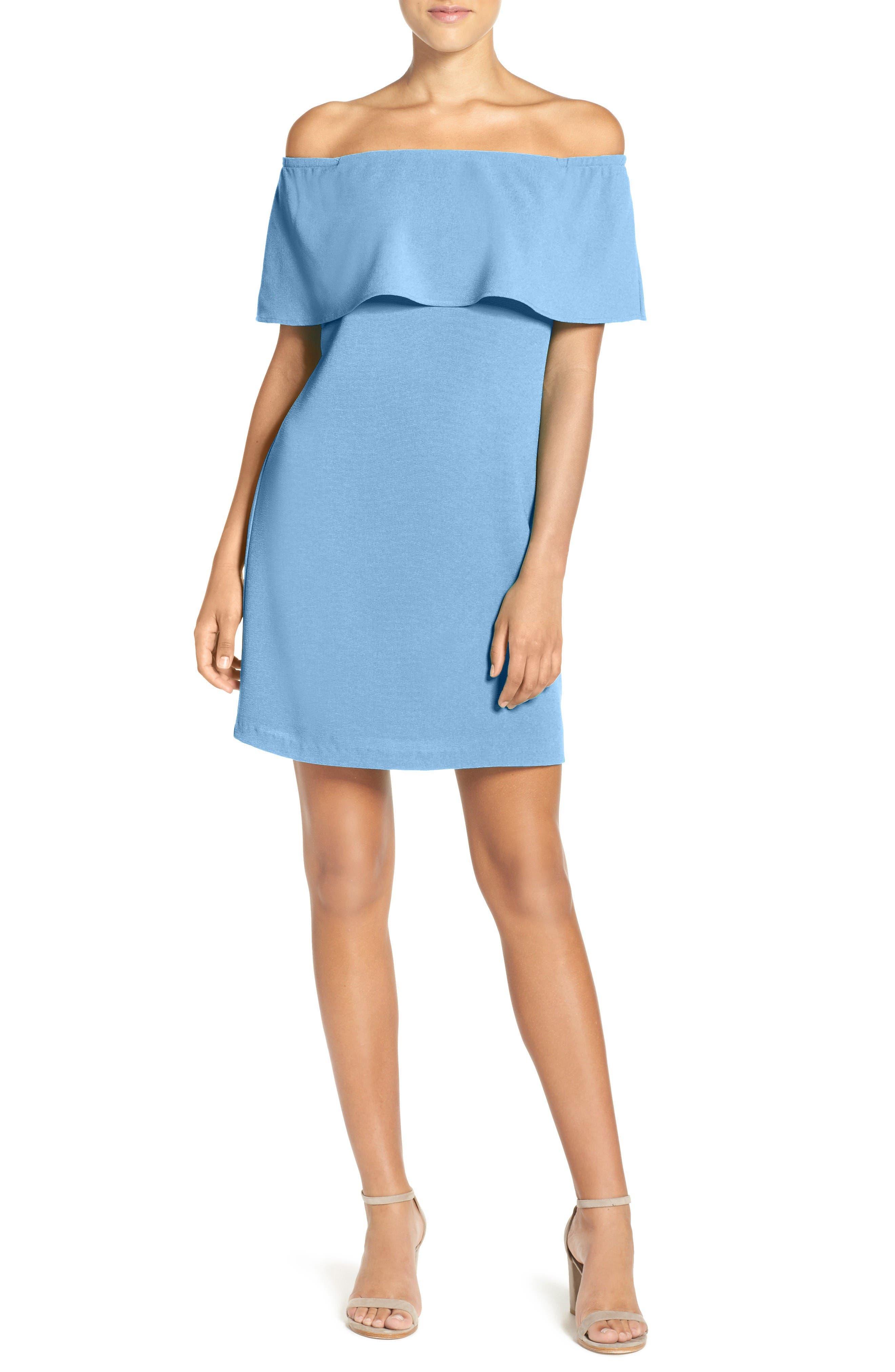 CHARLES HENRY Off the Shoulder Dress, Main, color, 455