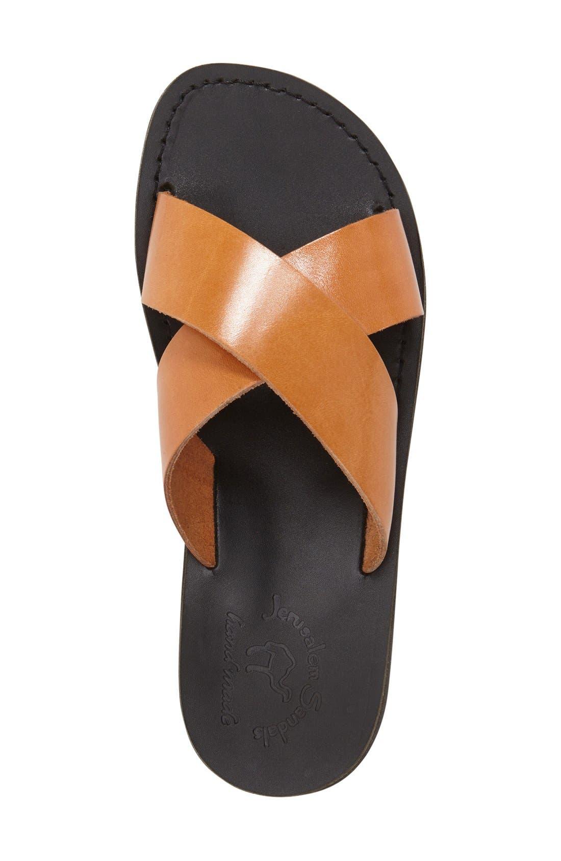 'Elan' Slide Sandal,                             Alternate thumbnail 4, color,                             TAN LEATHER/ BLACK