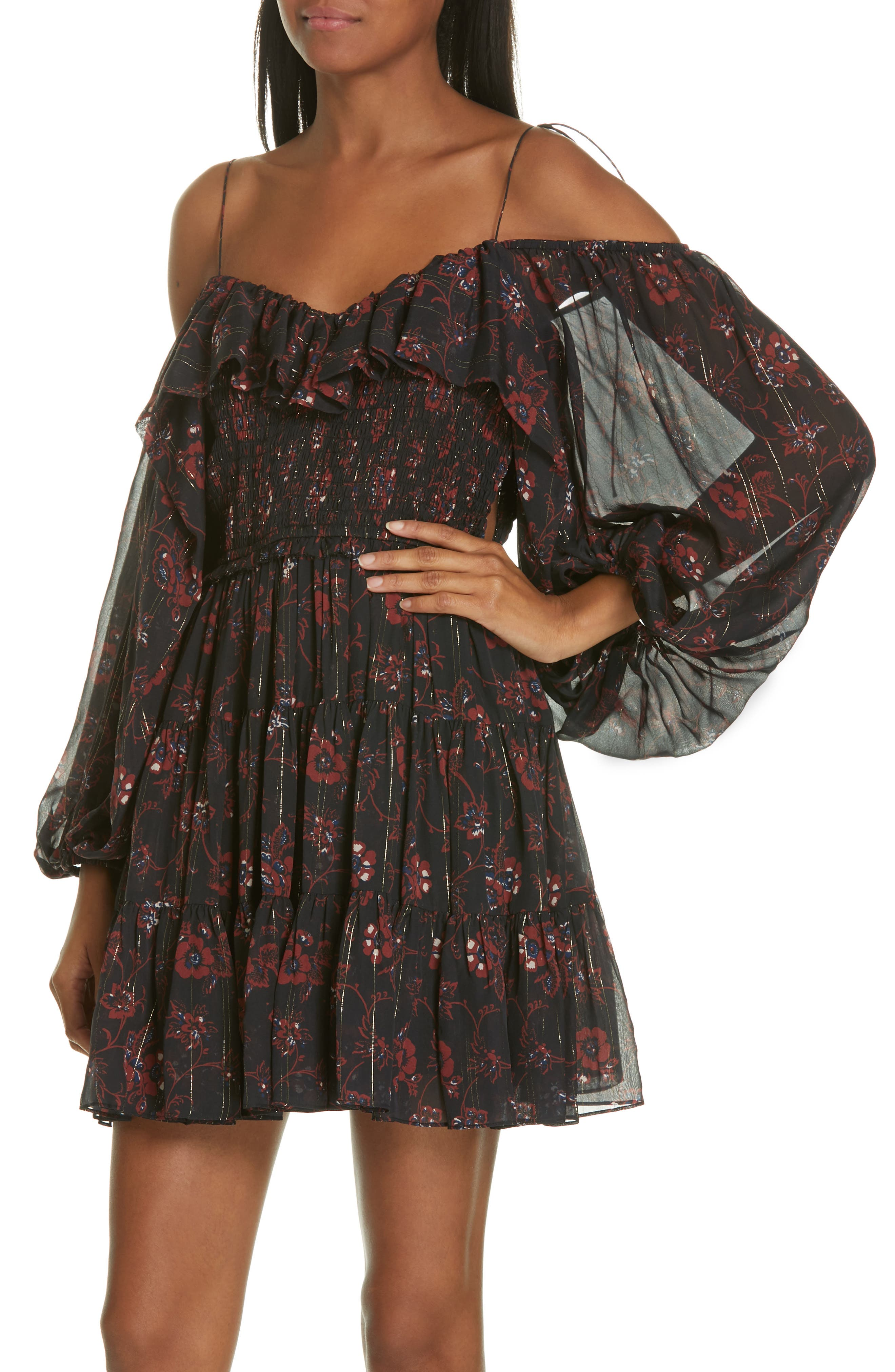 Monet Metallic Floral Cold Shoulder Silk Blend Dress,                             Alternate thumbnail 4, color,                             NOIR