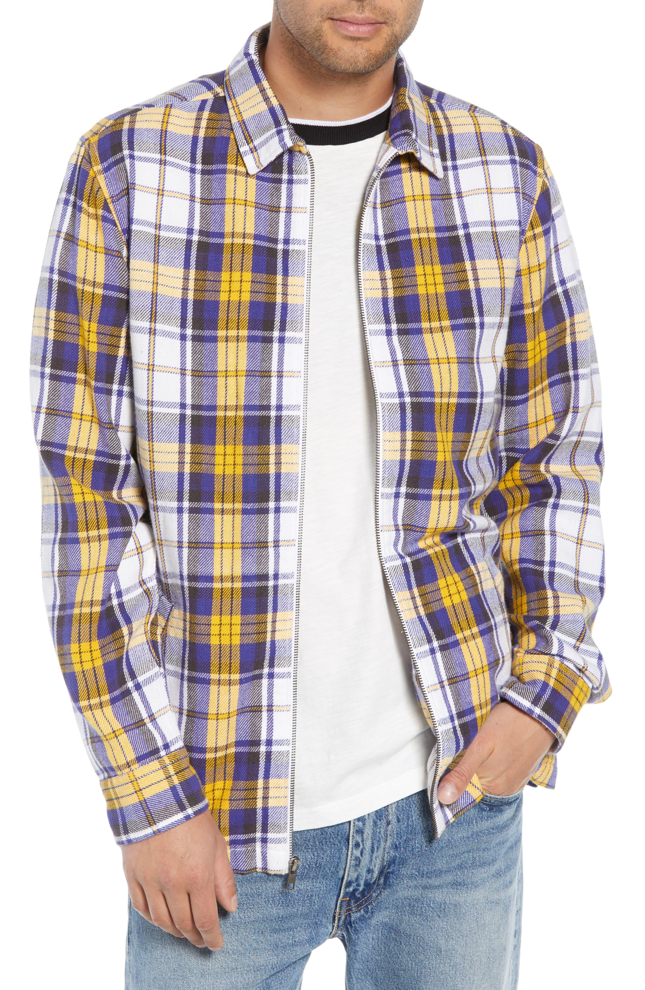 Zip Front Flannel Shirt Jacket,                             Main thumbnail 1, color,                             100