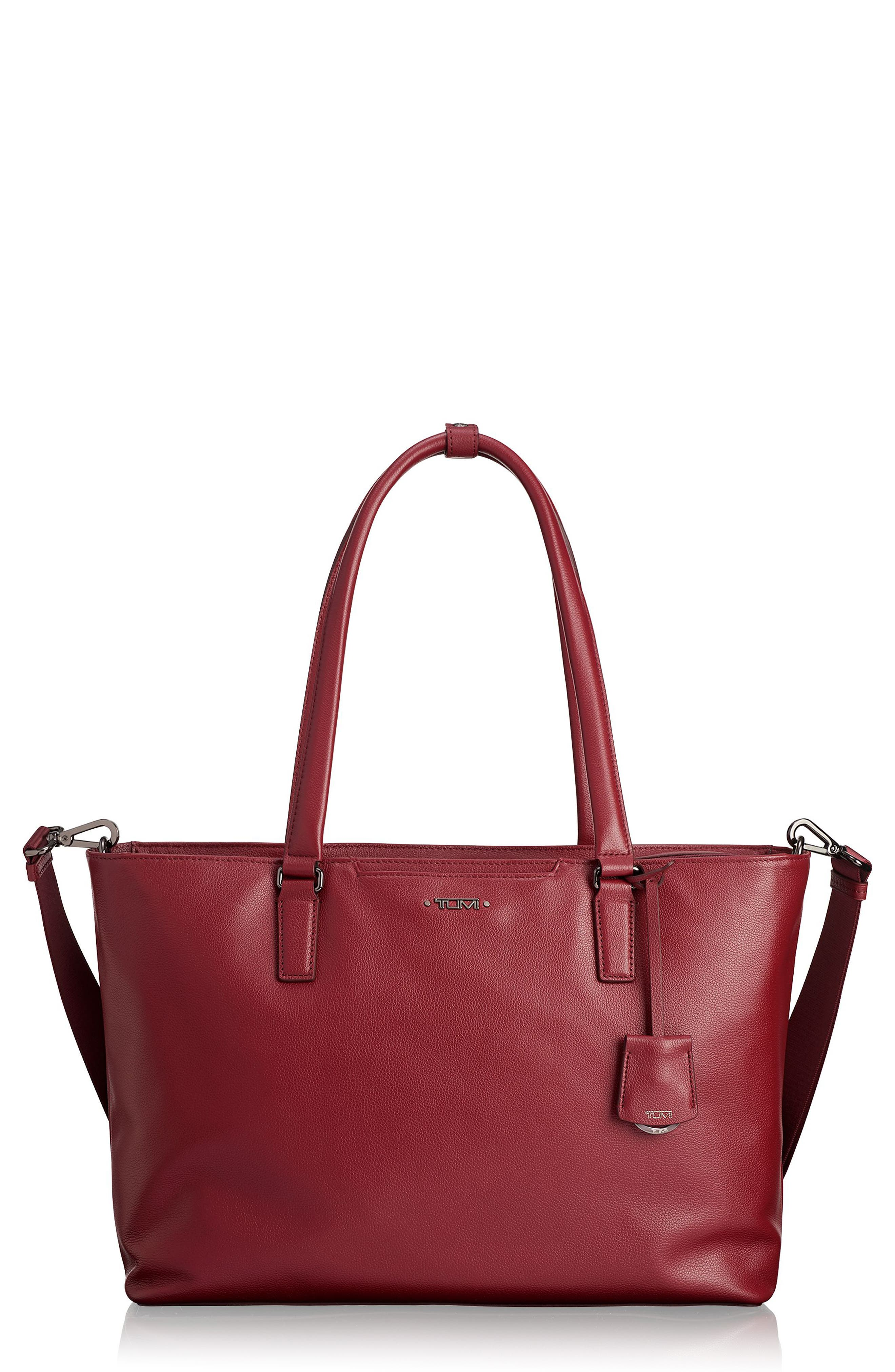 Voyageur - Monika Leather Tote,                         Main,                         color, BRICK RED