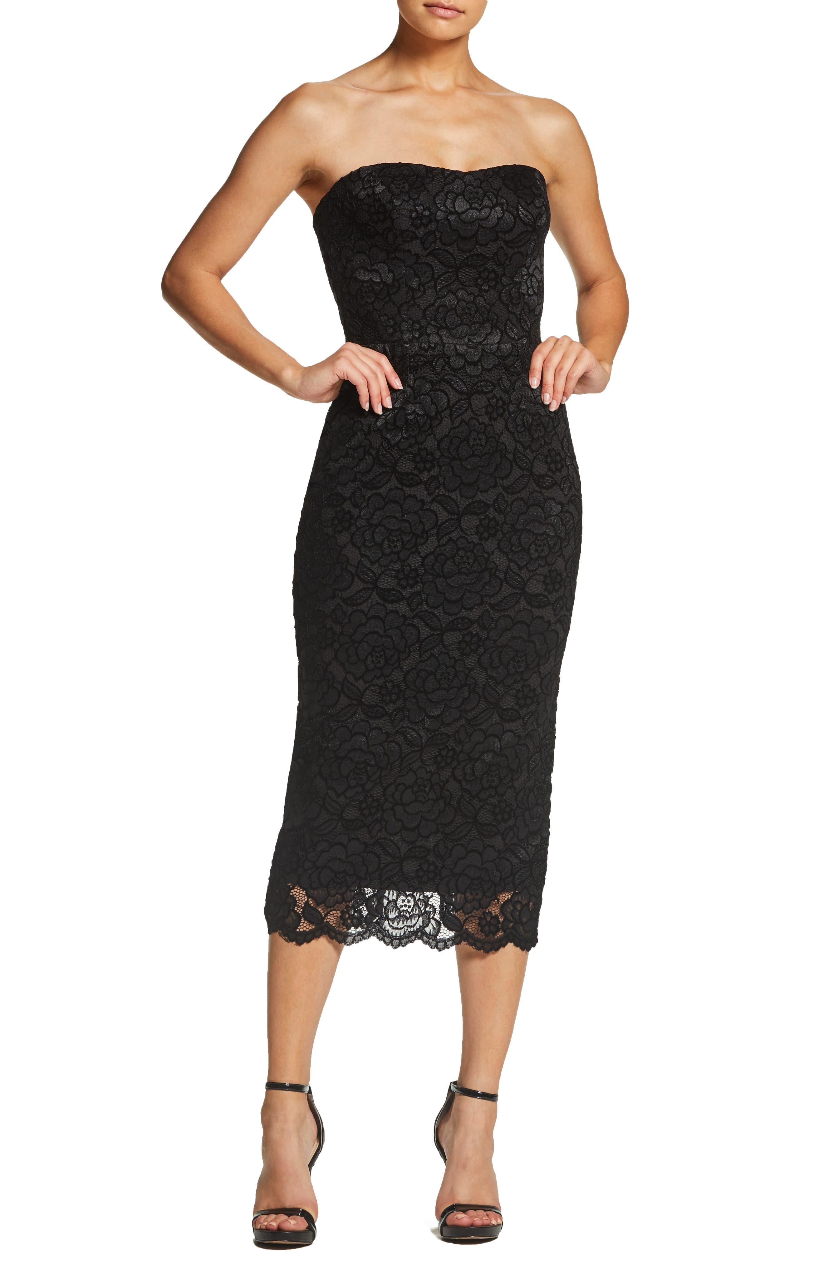 Dress The Population Claire Strapless Velvet Lace Midi Dress