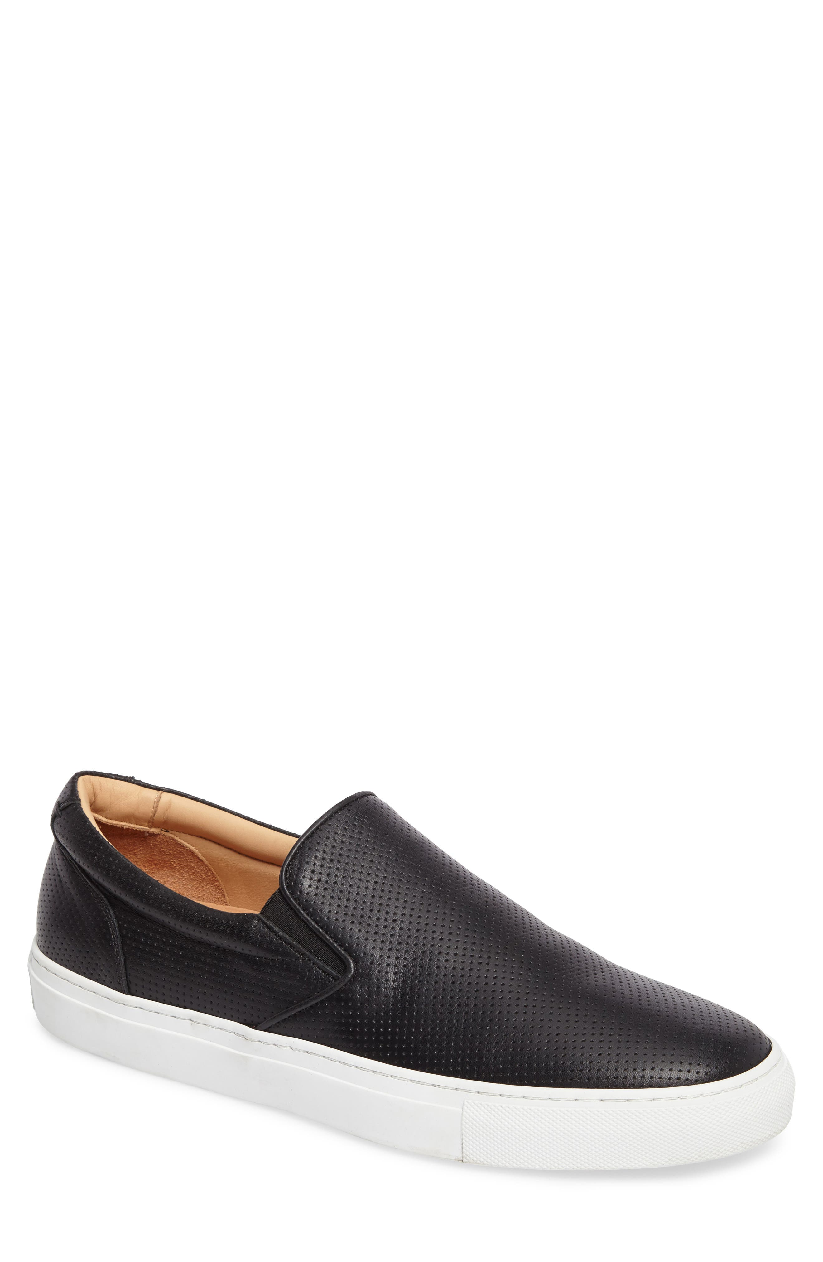 Wooster Slip-On Sneaker,                         Main,                         color, BLACK PERFORATED LEATHER