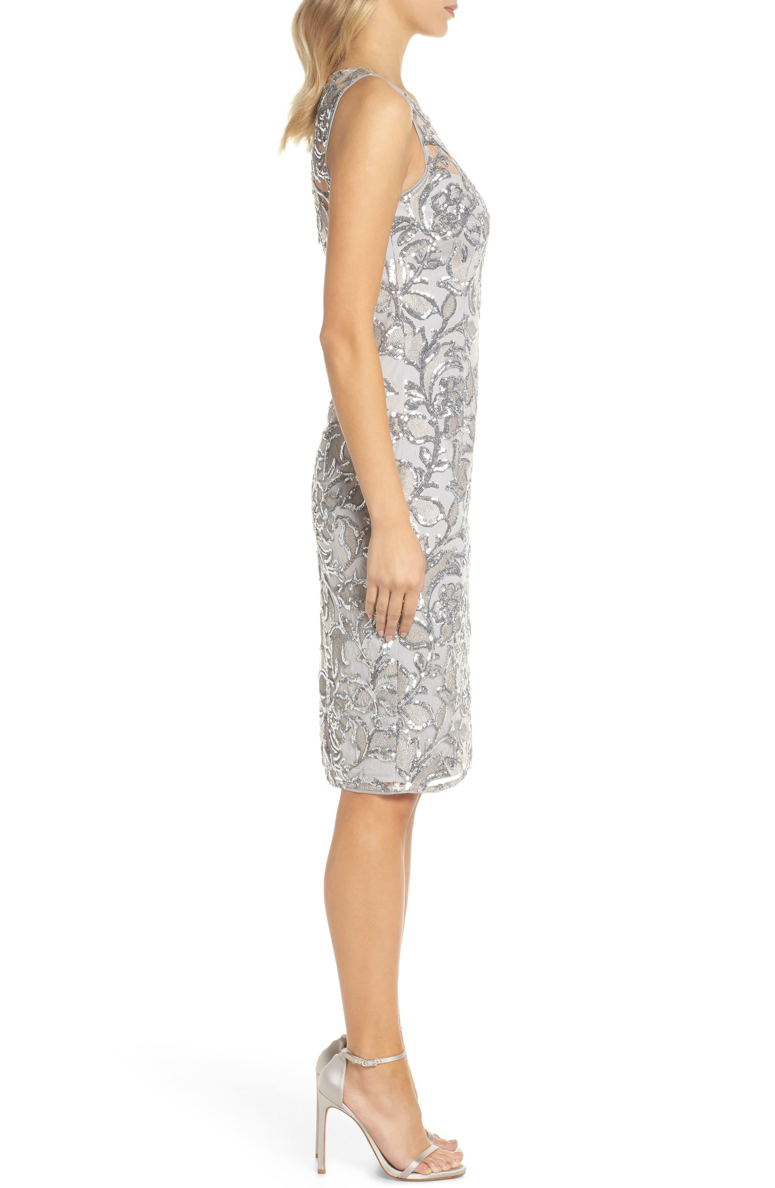 Floral Sequin Sheath Dress,                             Alternate thumbnail 3, color,                             SILVER