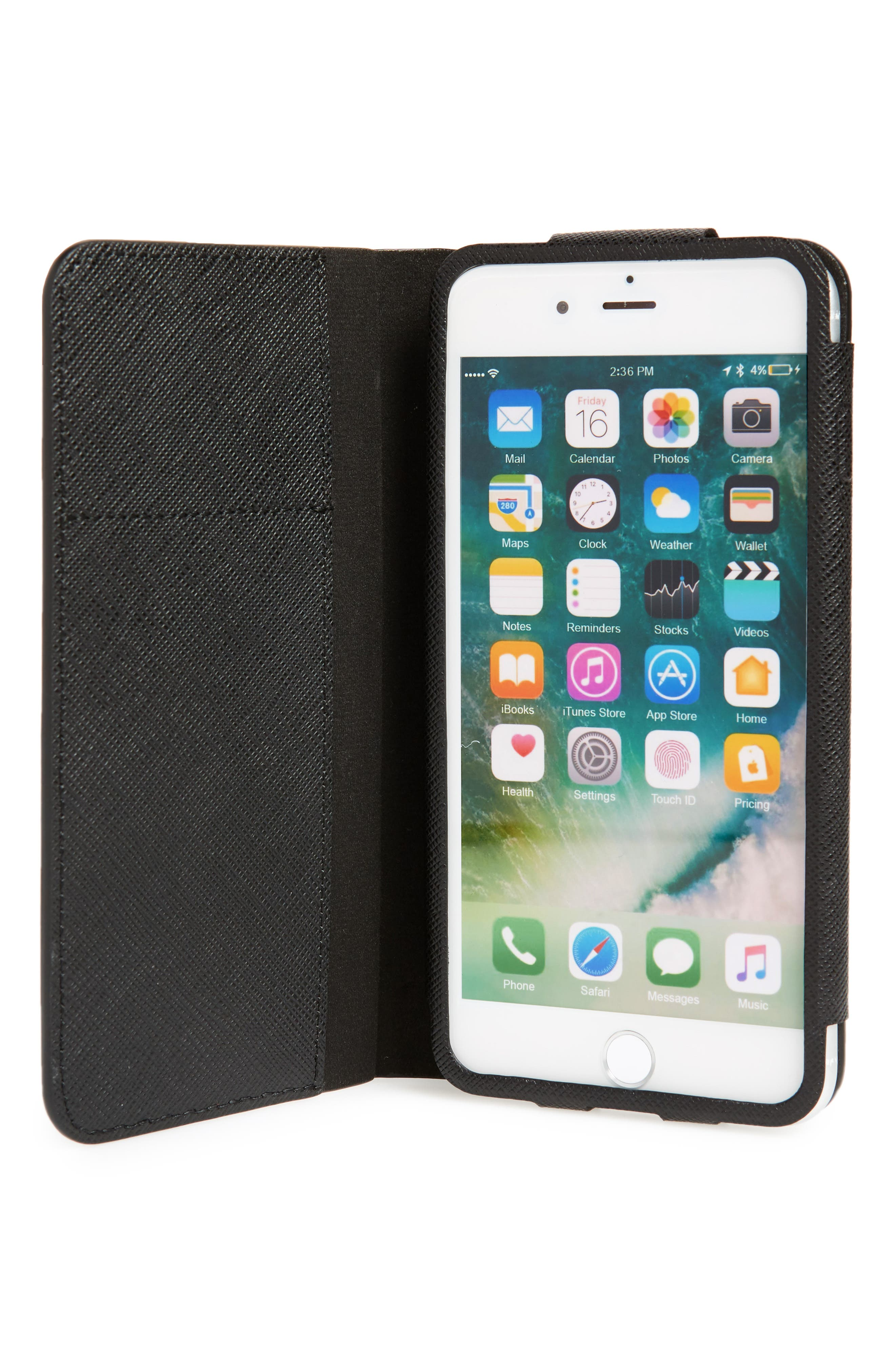 Saffiano Metal Oro Book iPhone 7 Plus Wallet,                             Alternate thumbnail 2, color,                             001