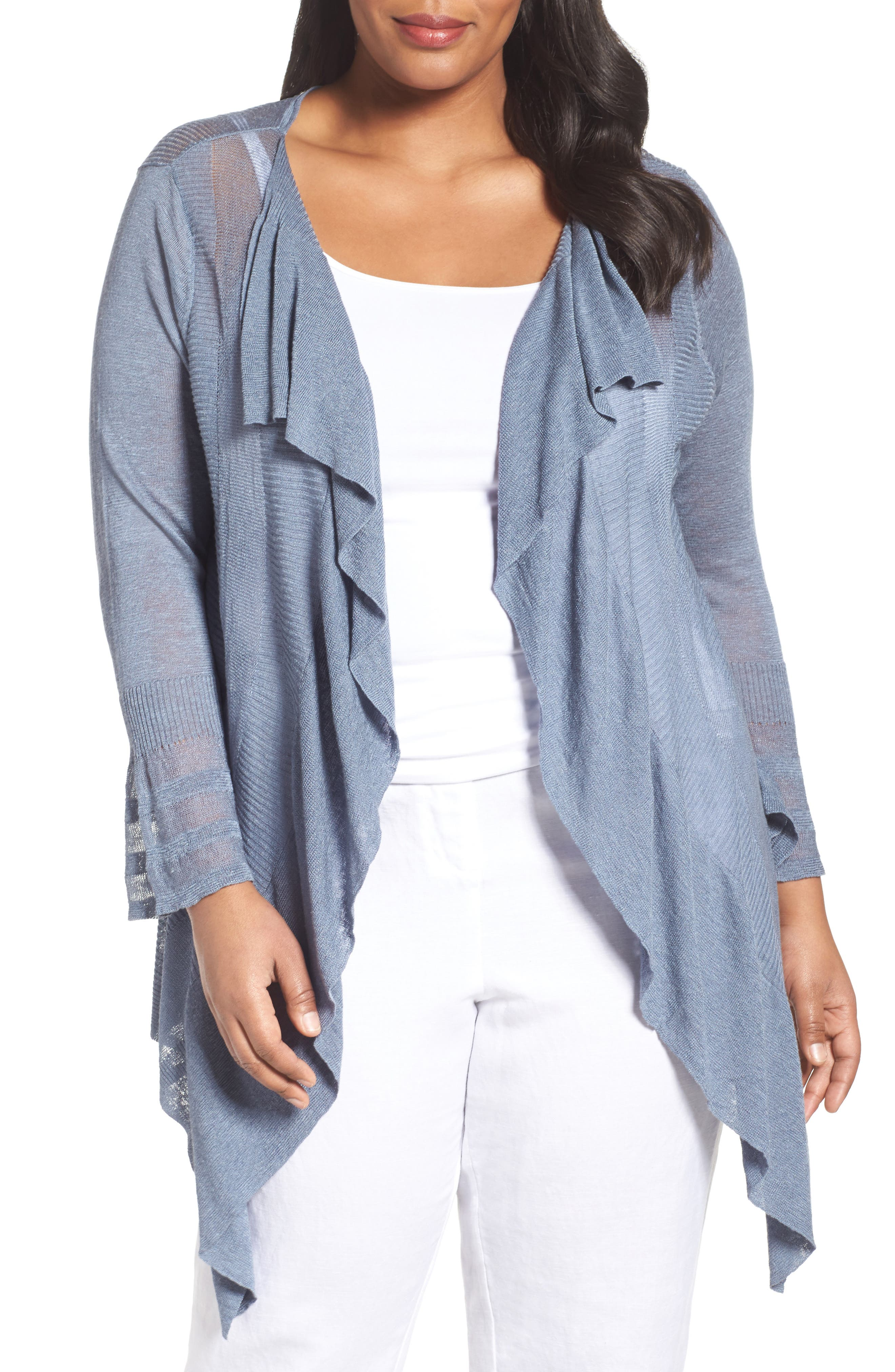 Ruffle Wave Linen Blend Cardigan,                         Main,                         color, LIGHT INDIGO