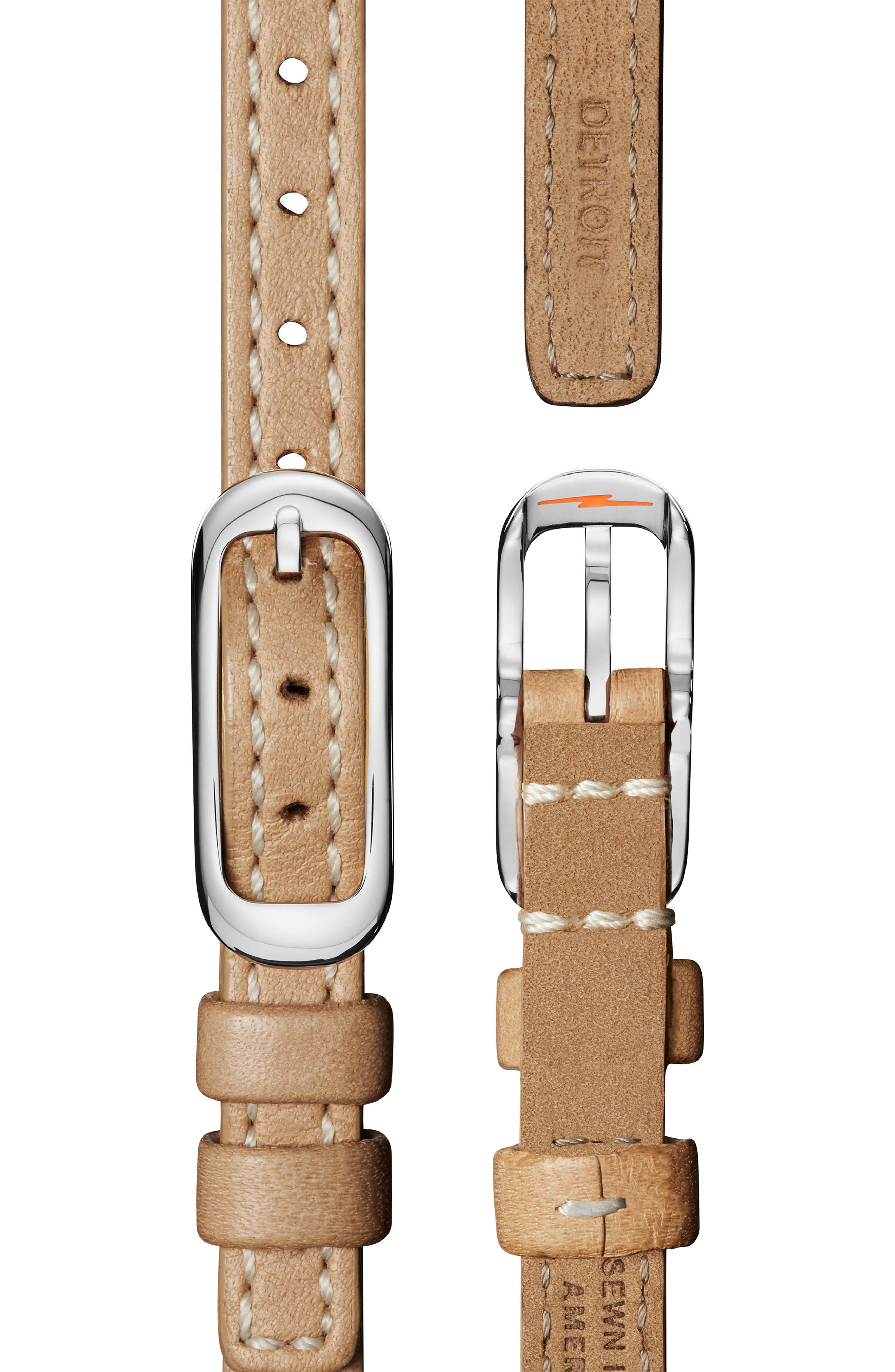 The Birdy Leather Strap Watch, 34mm,                             Alternate thumbnail 4, color,                             TAN/ GREY/ GOLD