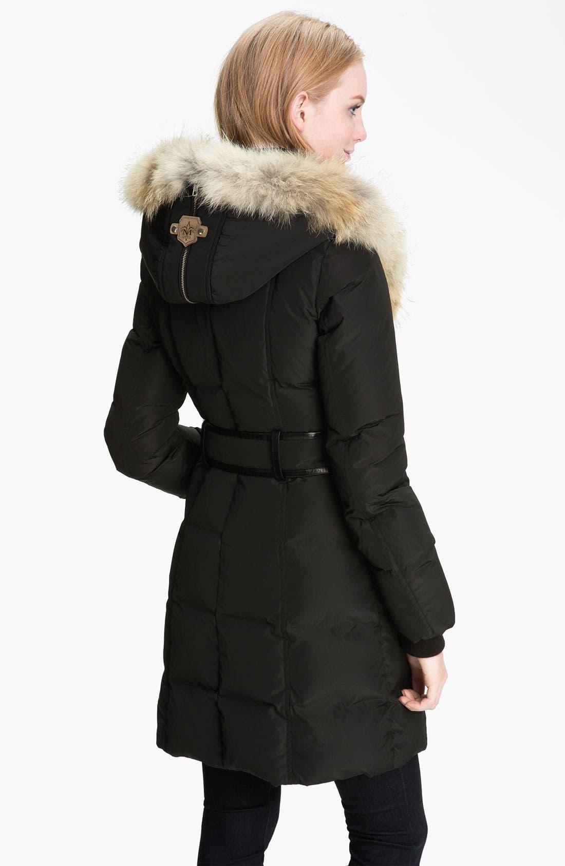 MACKAGE,                             Long Down Coat with Genuine Coyote & Rabbit Fur,                             Alternate thumbnail 3, color,                             001