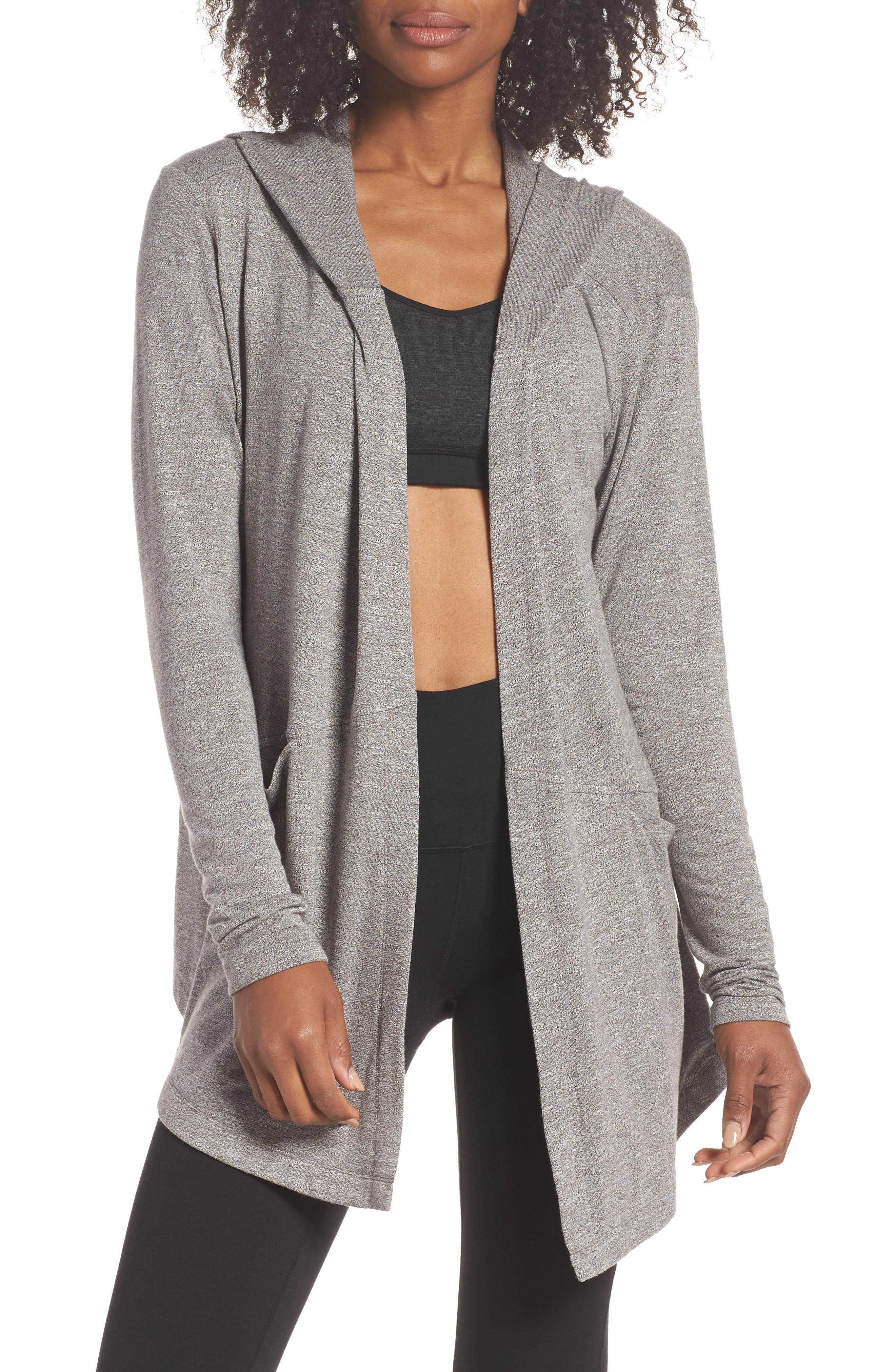 After Class Hooded Cardigan,                             Main thumbnail 1, color,                             GREY DARK HEATHER