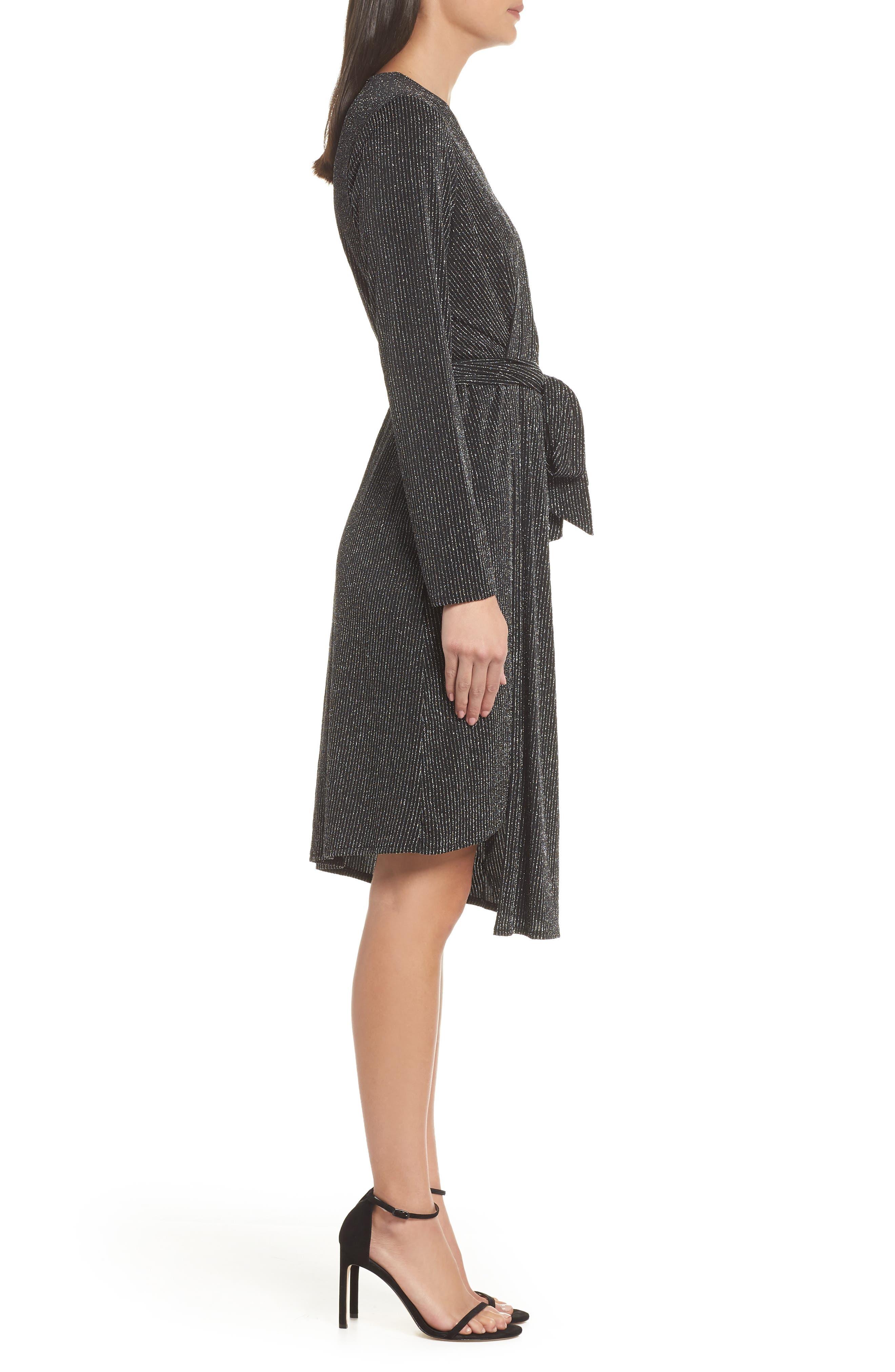 SAM EDELMAN,                             Metallic Faux Wrap Knit Dress,                             Alternate thumbnail 3, color,                             SILVER METALLIC