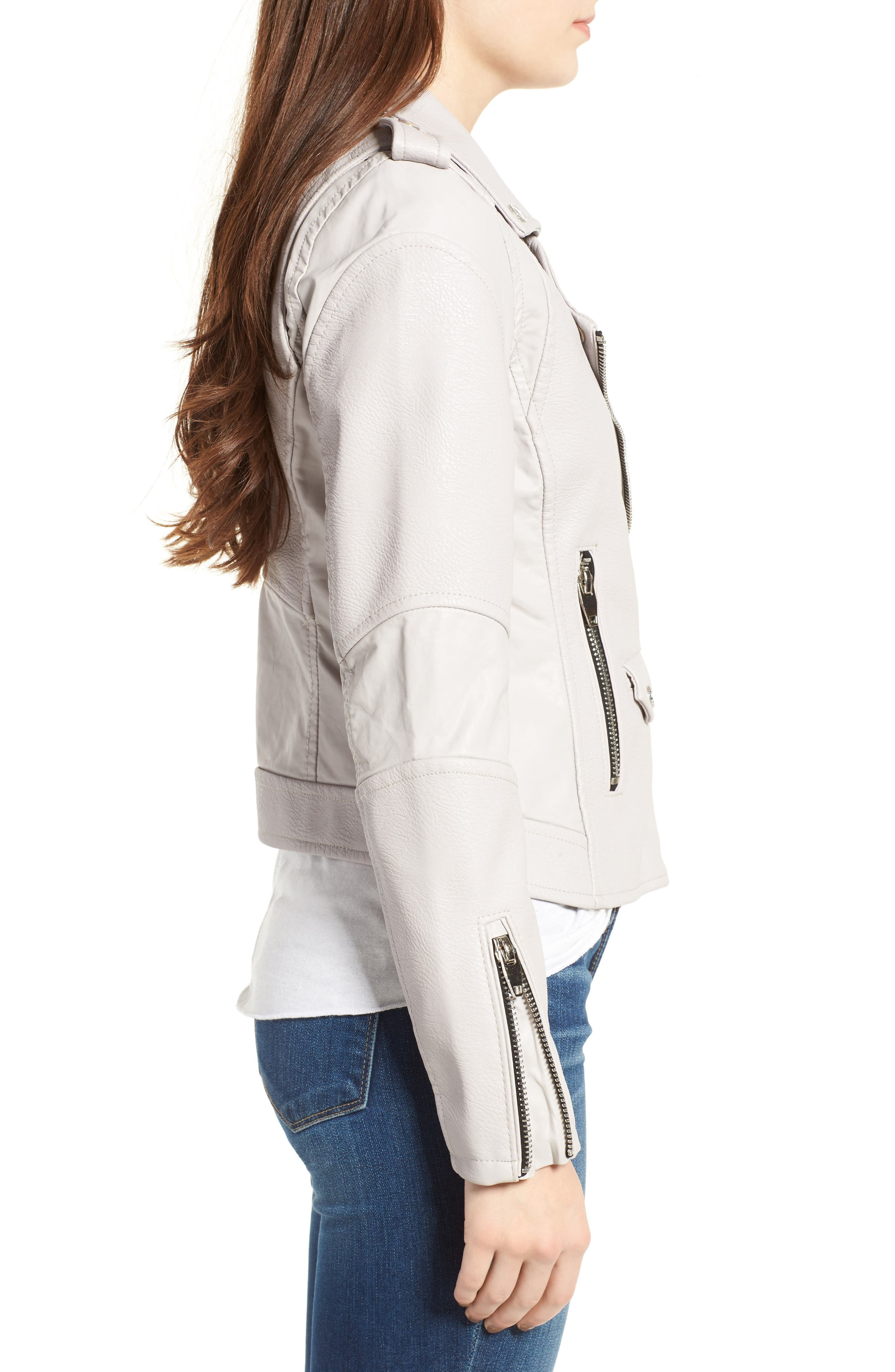 'Easy Rider' Faux Leather Moto Jacket,                             Alternate thumbnail 14, color,