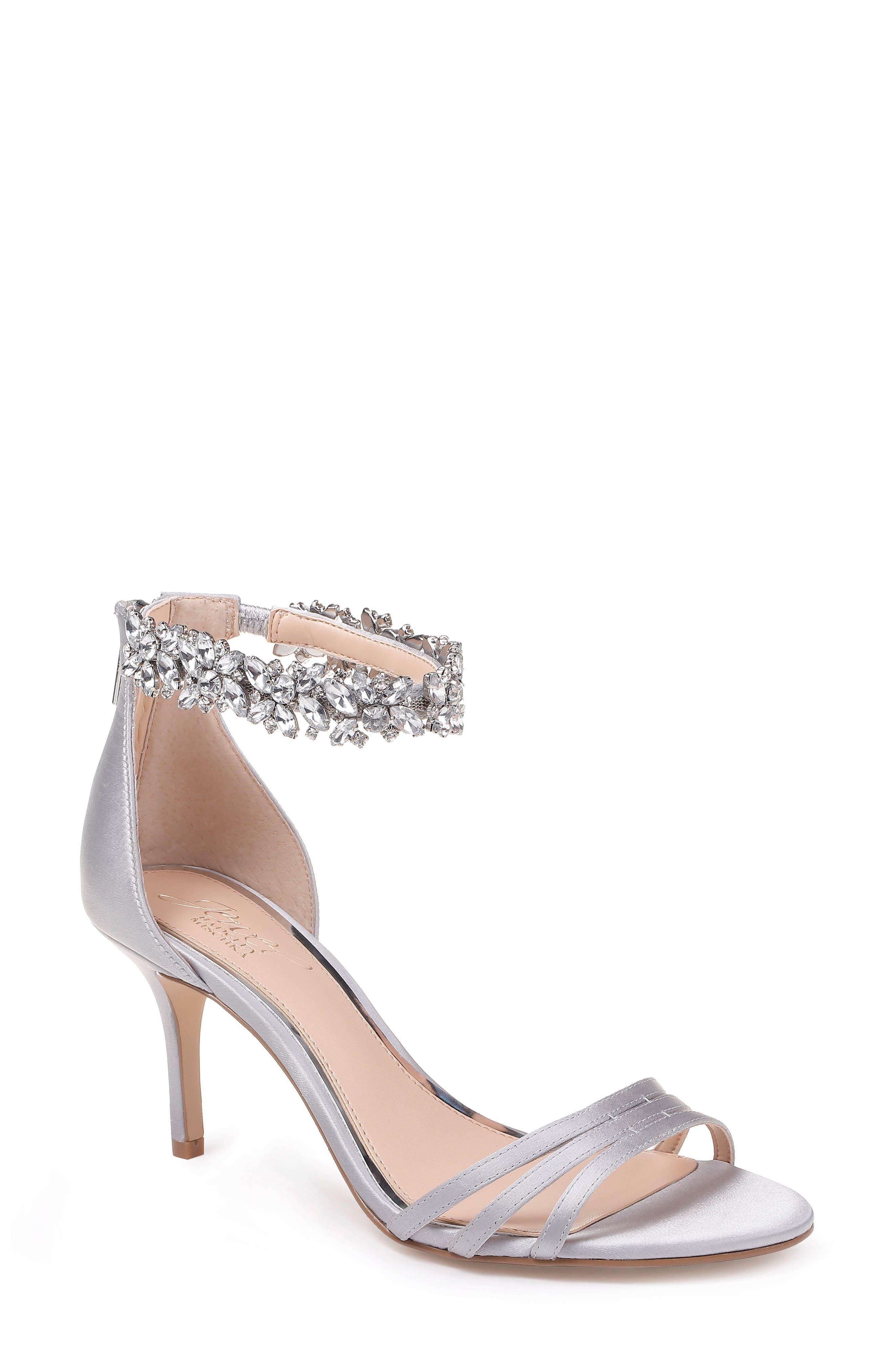 Jewel Badgley Mischka Zamora Ankle Strap Sandal, Metallic