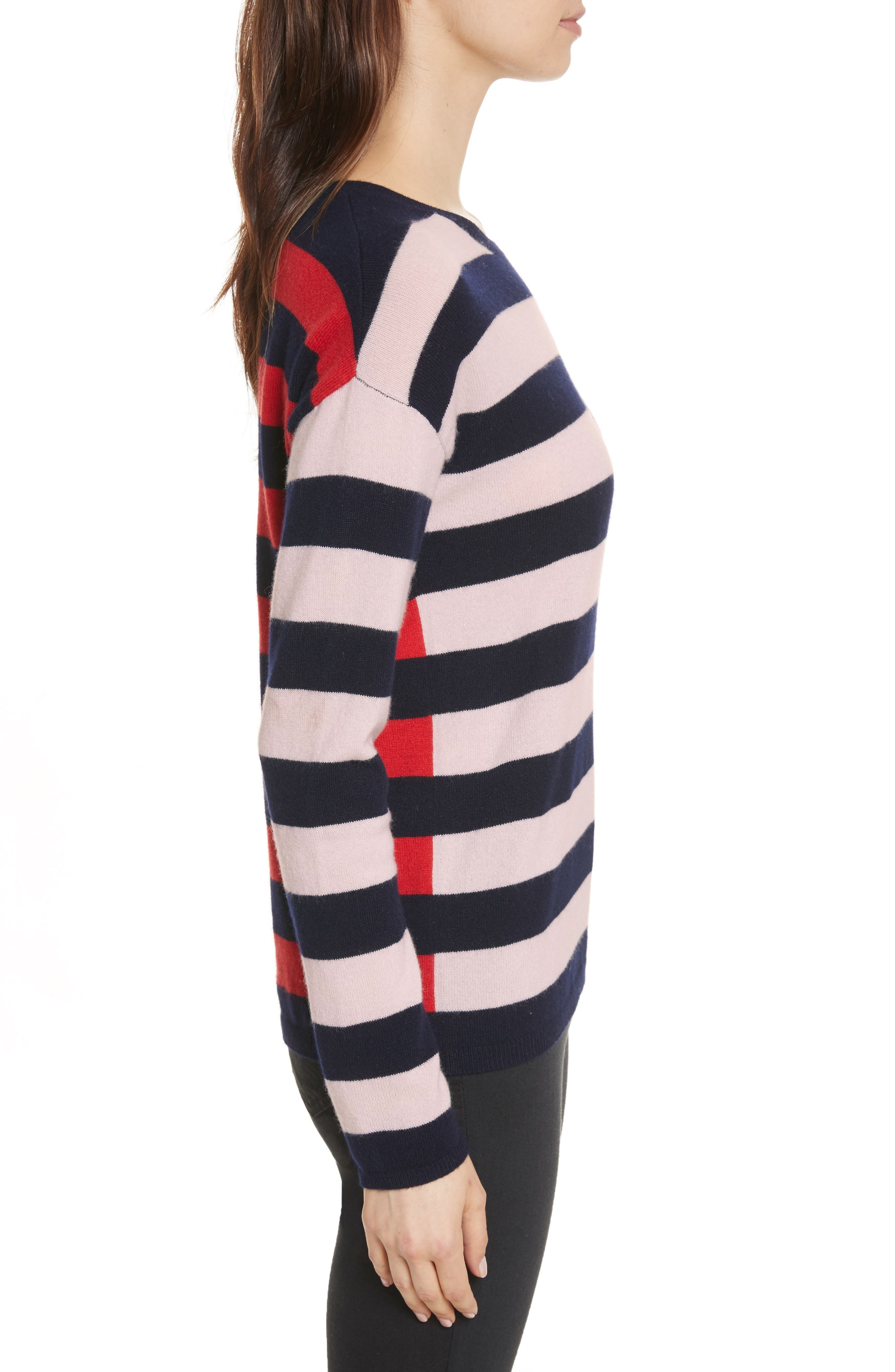 CHINTI & PARKER Navy Pop Stripe Cashmere Sweater,                             Alternate thumbnail 3, color,                             680