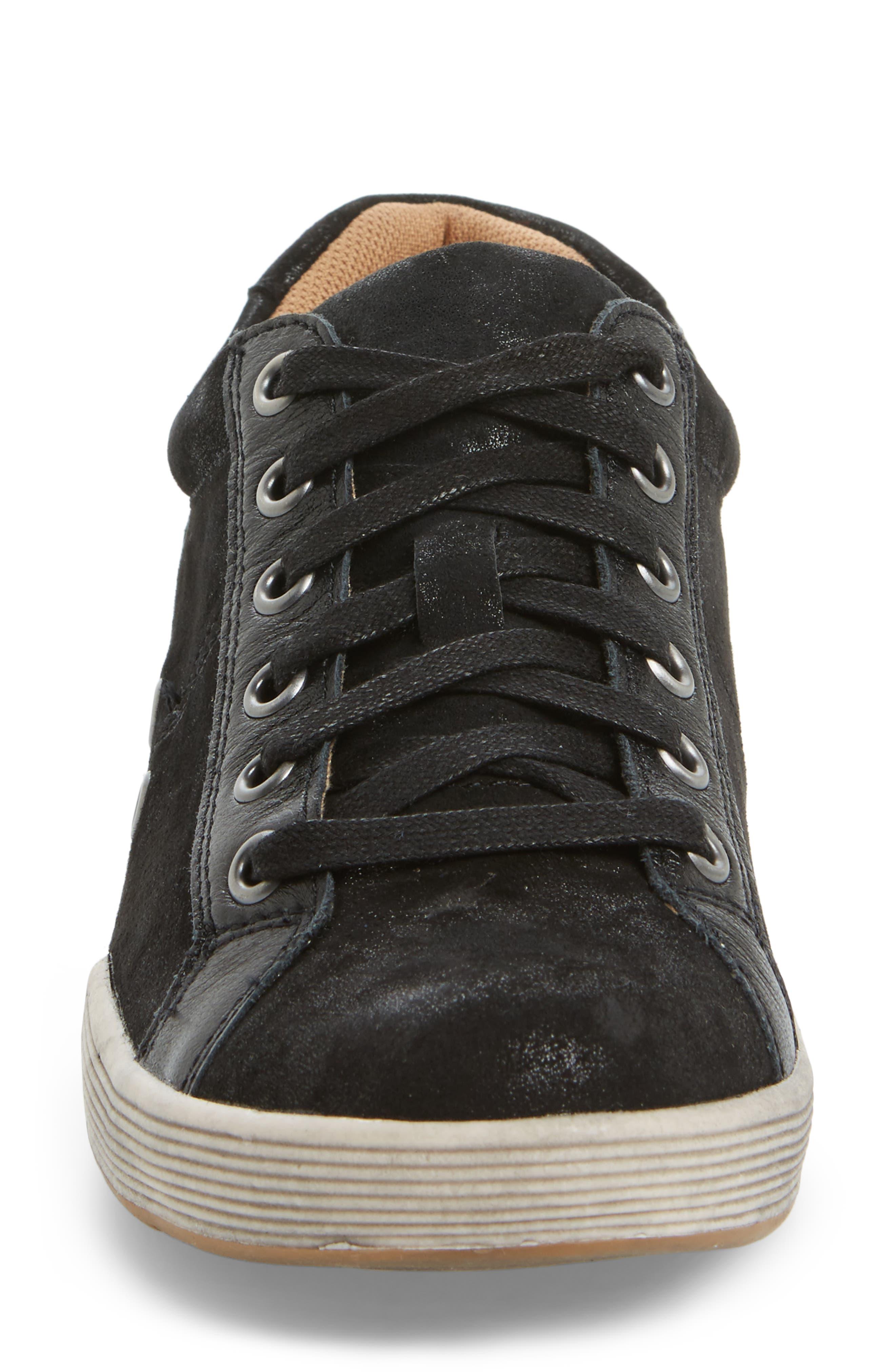 Lyons Low-Top Sneaker,                             Alternate thumbnail 4, color,                             BLACK SUEDE