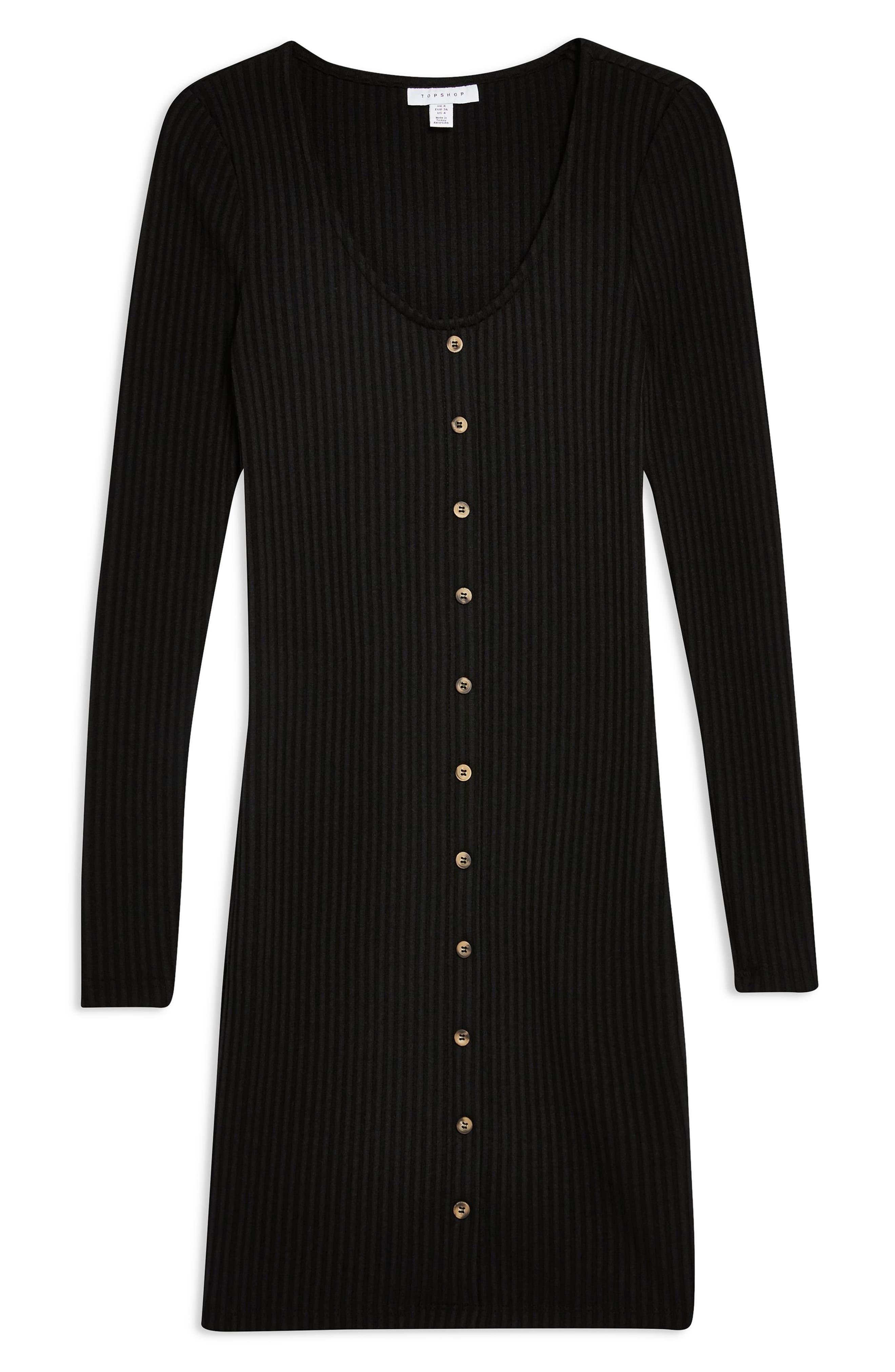 Plain Ribbed Minidress,                             Alternate thumbnail 3, color,                             BLACK