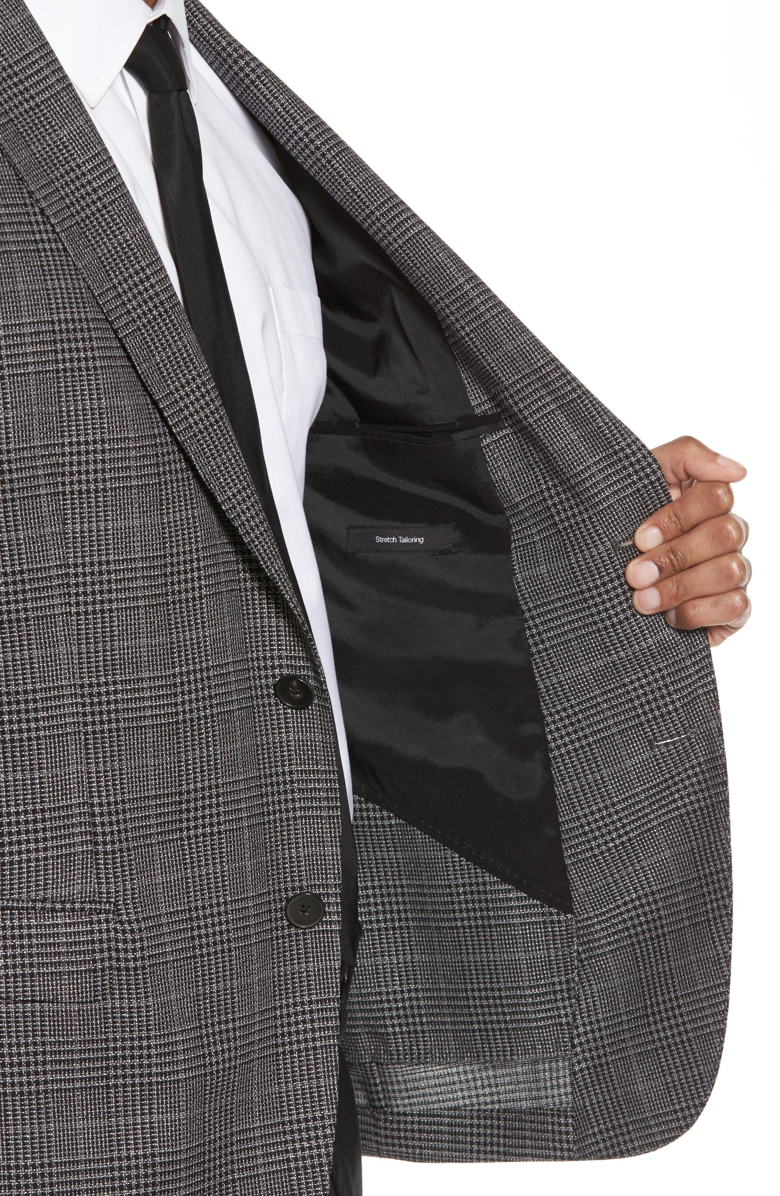 Nobis Trim Fit Plaid Wool & Silk Blend Sport Coat,                             Alternate thumbnail 4, color,                             OPEN GREY
