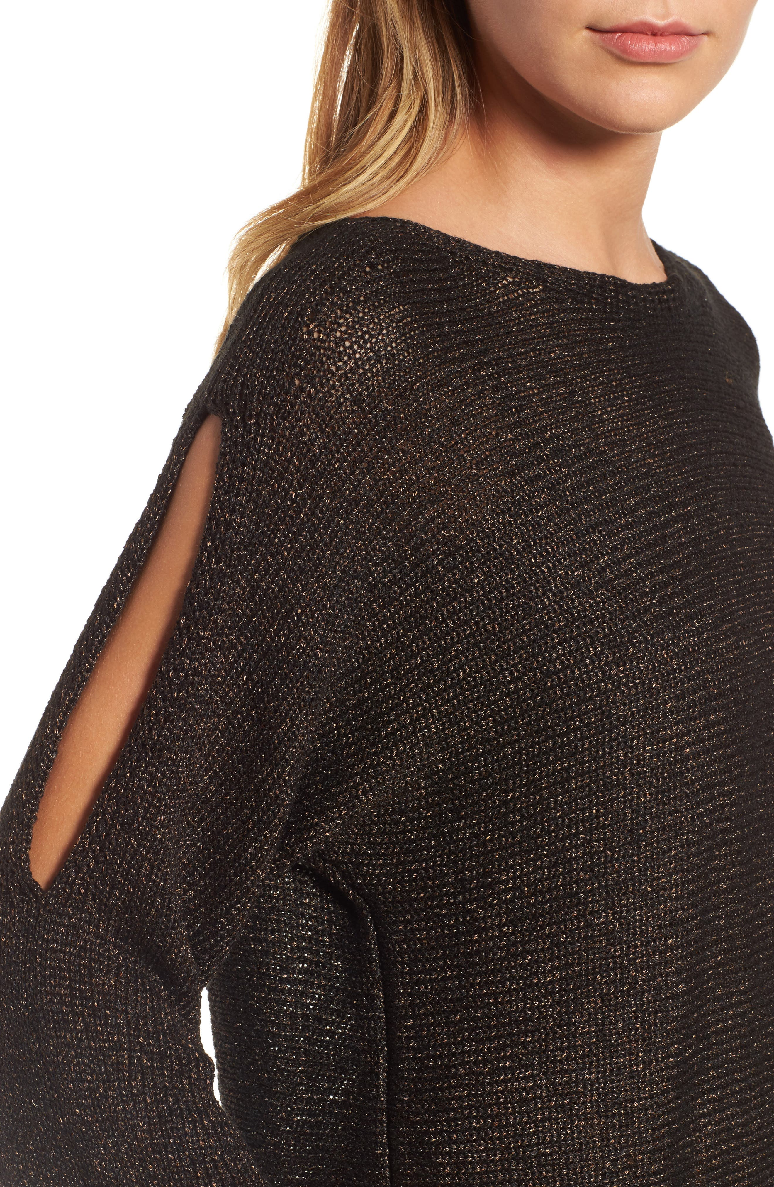 Metallic Organic Linen Blend Sweater,                             Alternate thumbnail 4, color,                             207